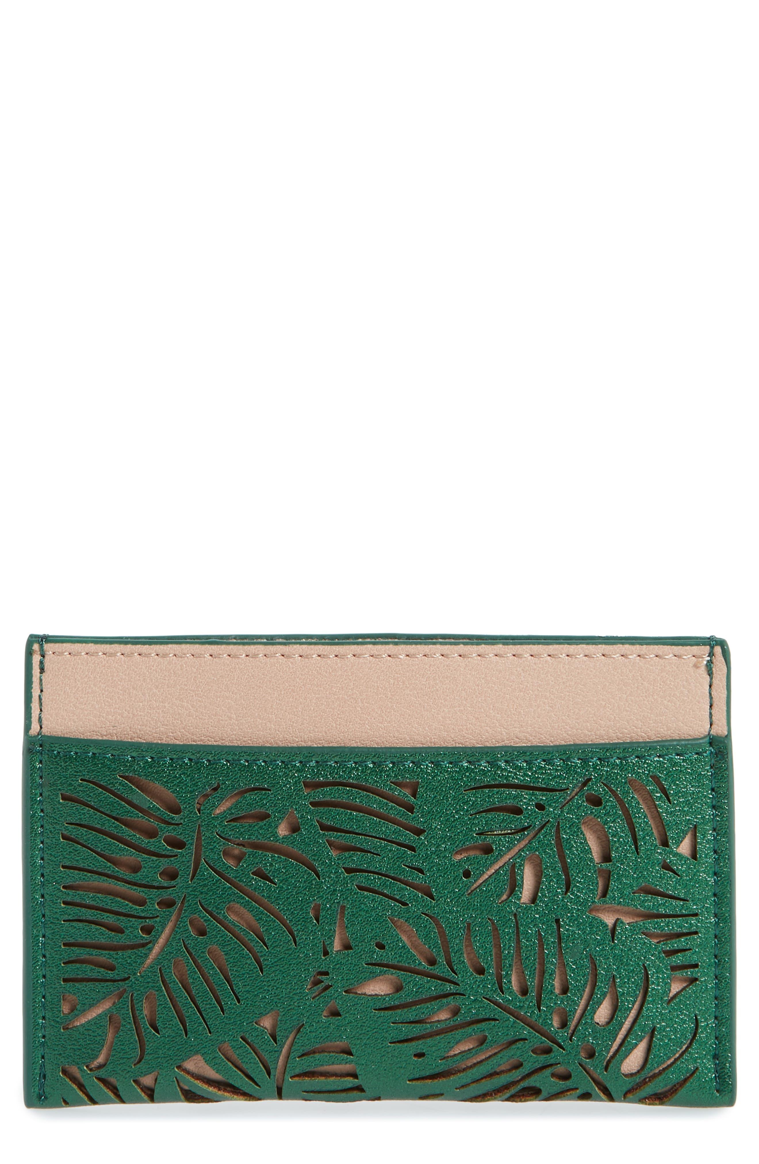 BP. Laser Cut Leaf Faux Leather Card Case