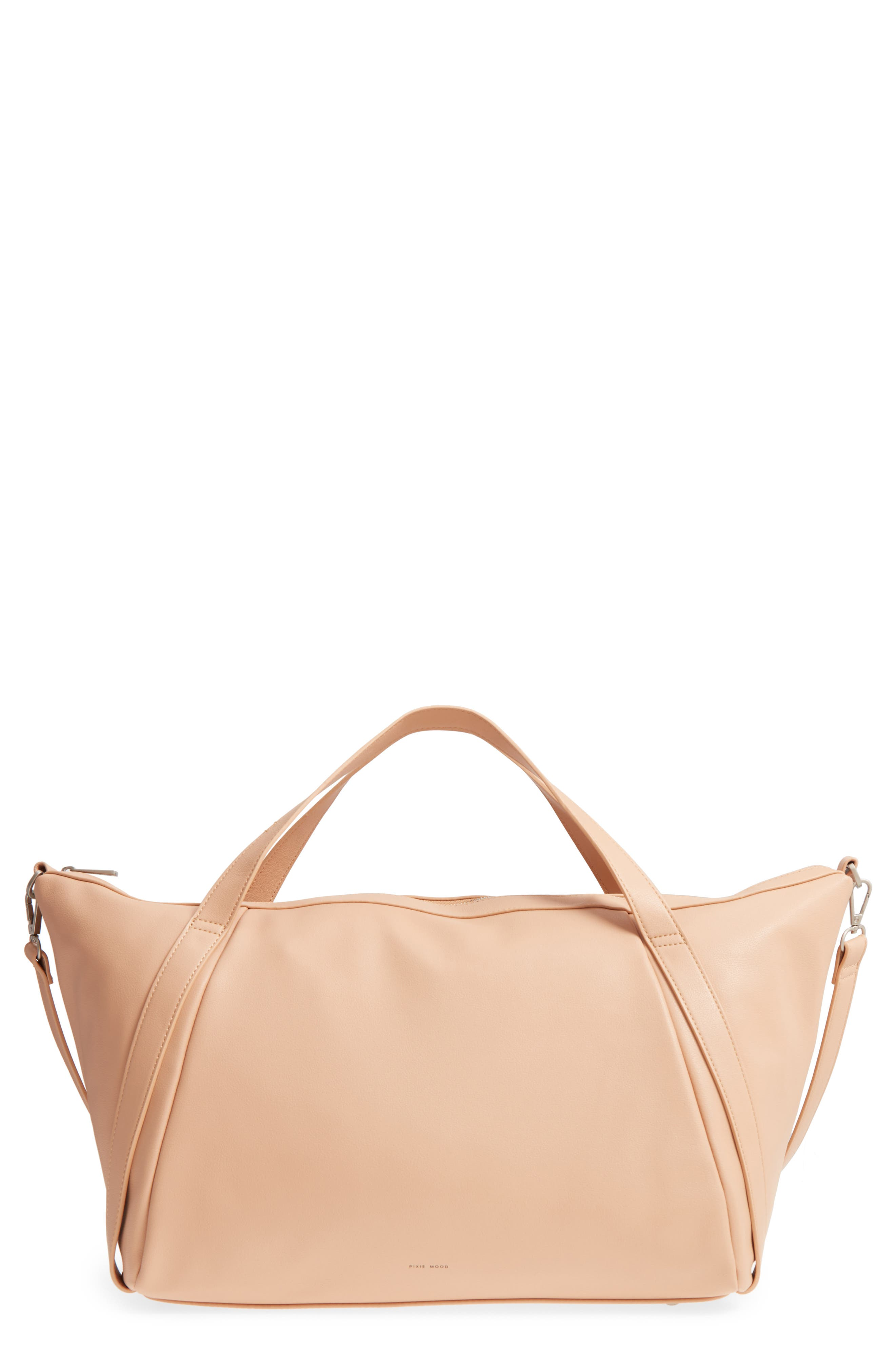 Mia Faux Leather Tote,                             Main thumbnail 1, color,                             Praline