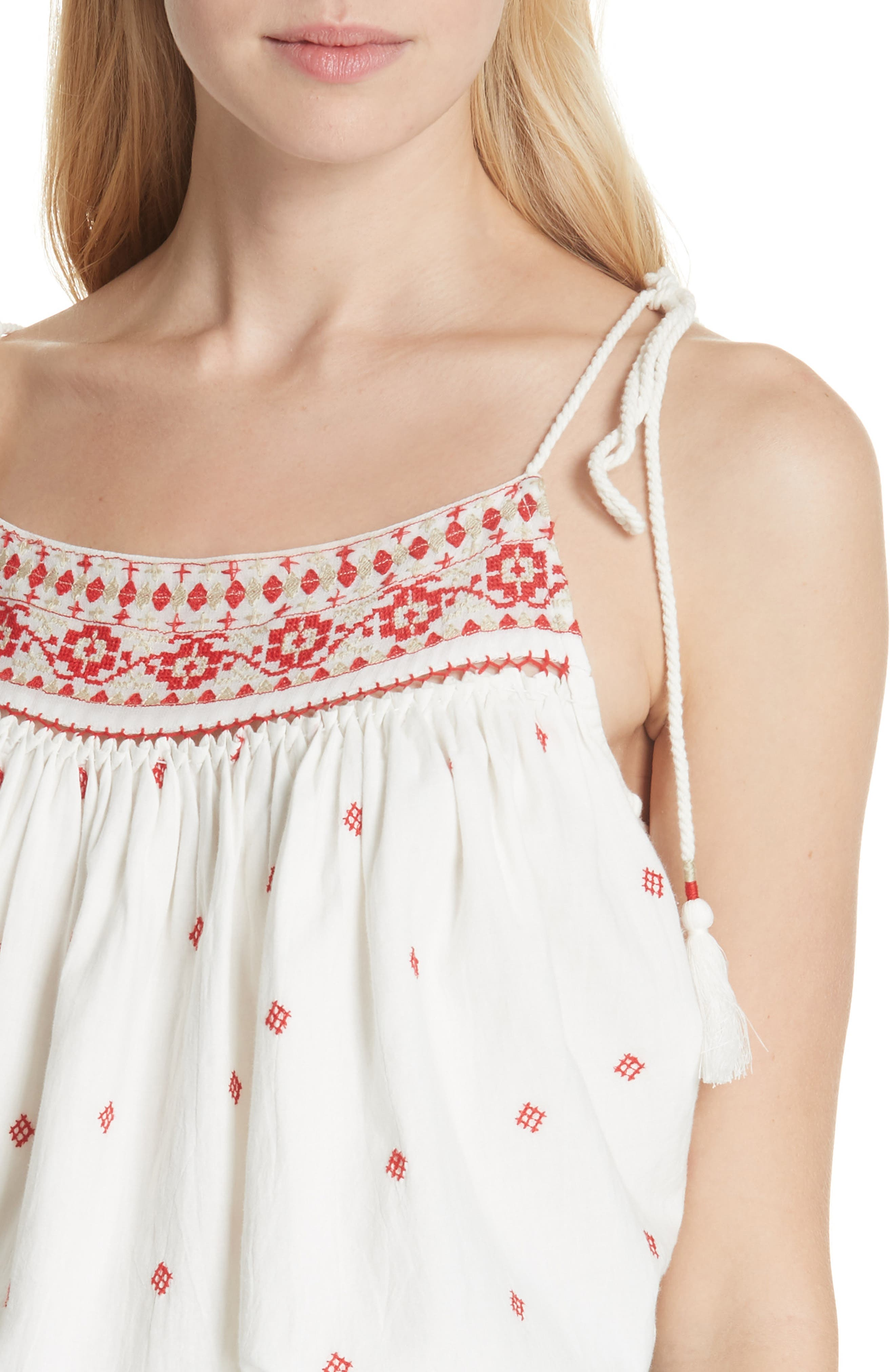 Eternal Love Embroidered Top,                             Alternate thumbnail 4, color,                             Ivory