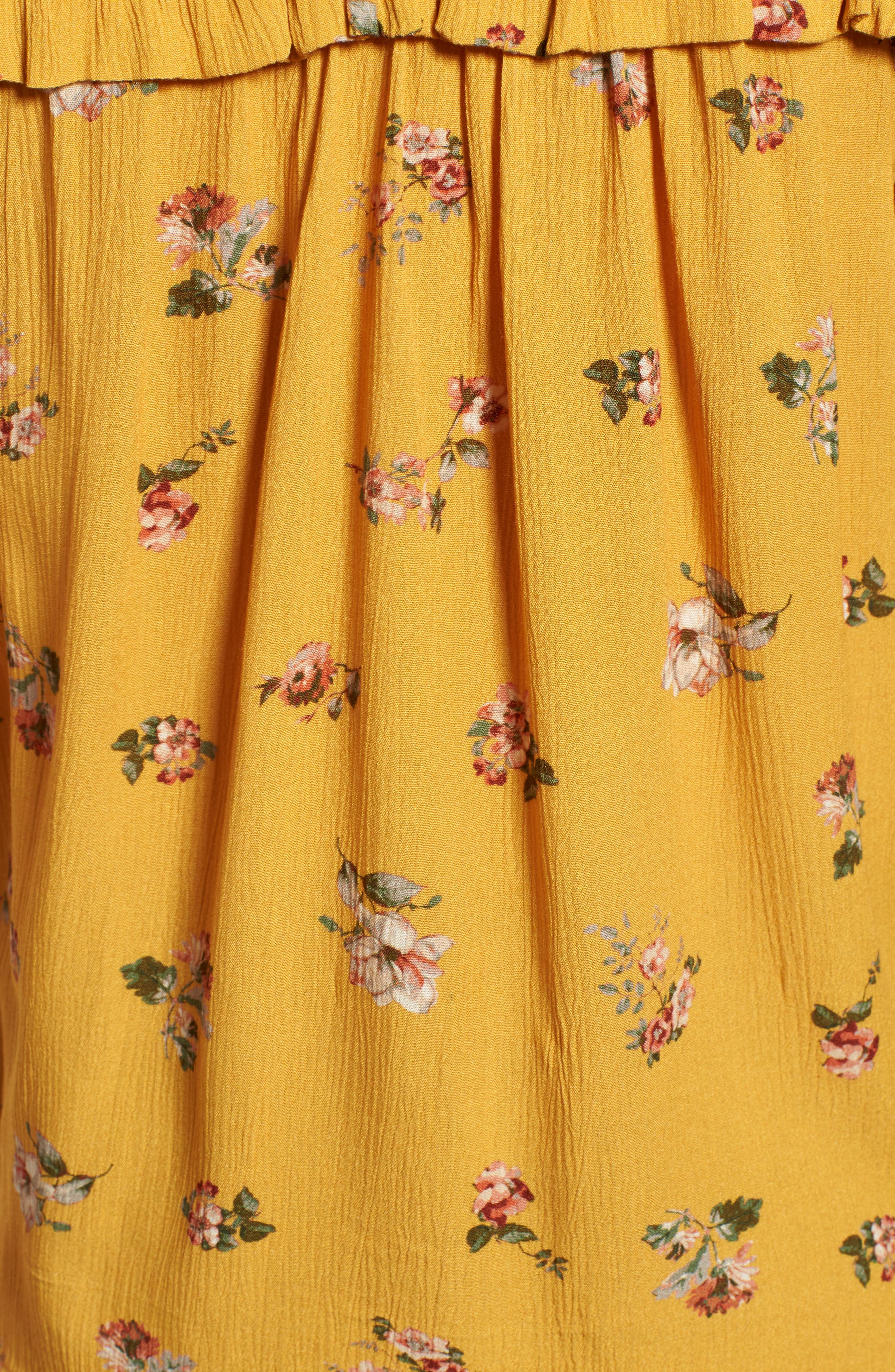 Ruffled Floral Top,                             Alternate thumbnail 5, color,                             Marigold Print