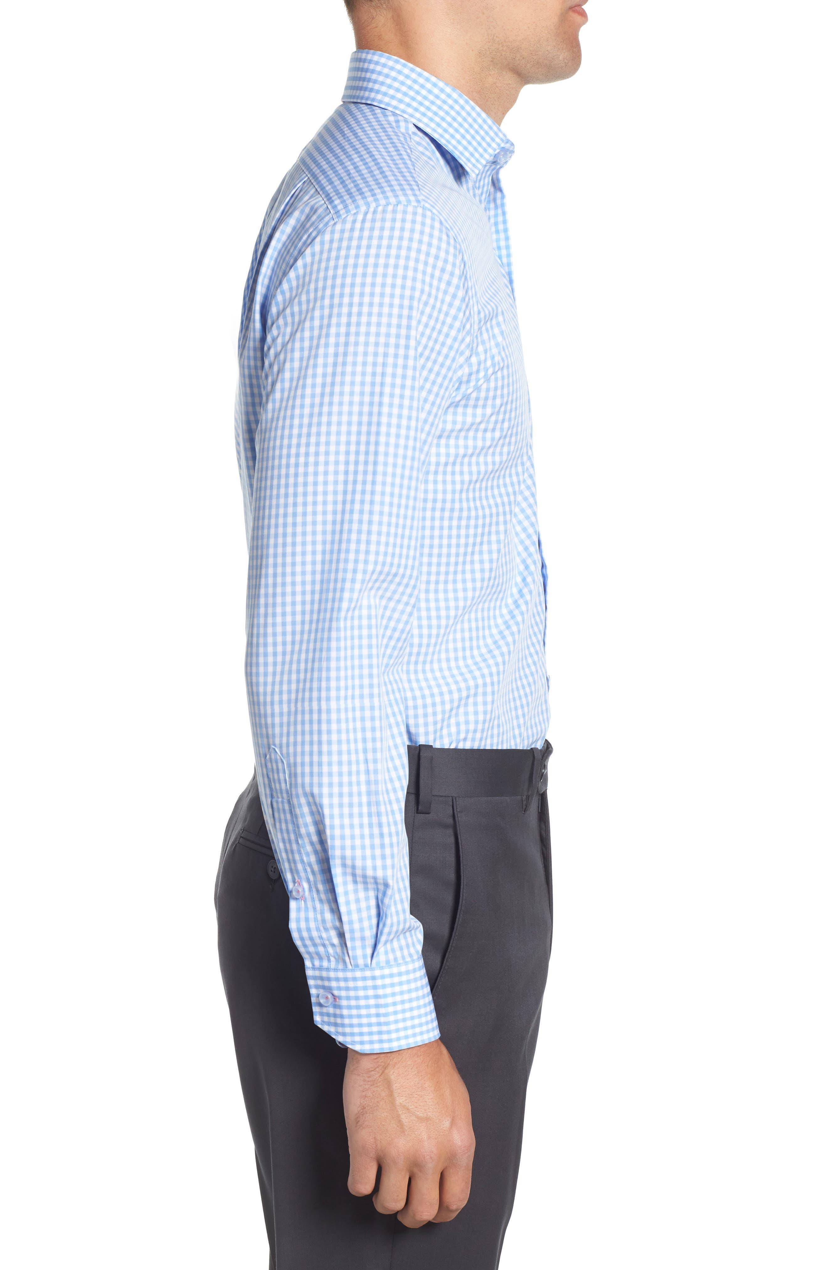 Trim Fit Check Dress Shirt,                             Alternate thumbnail 4, color,                             Light Blue