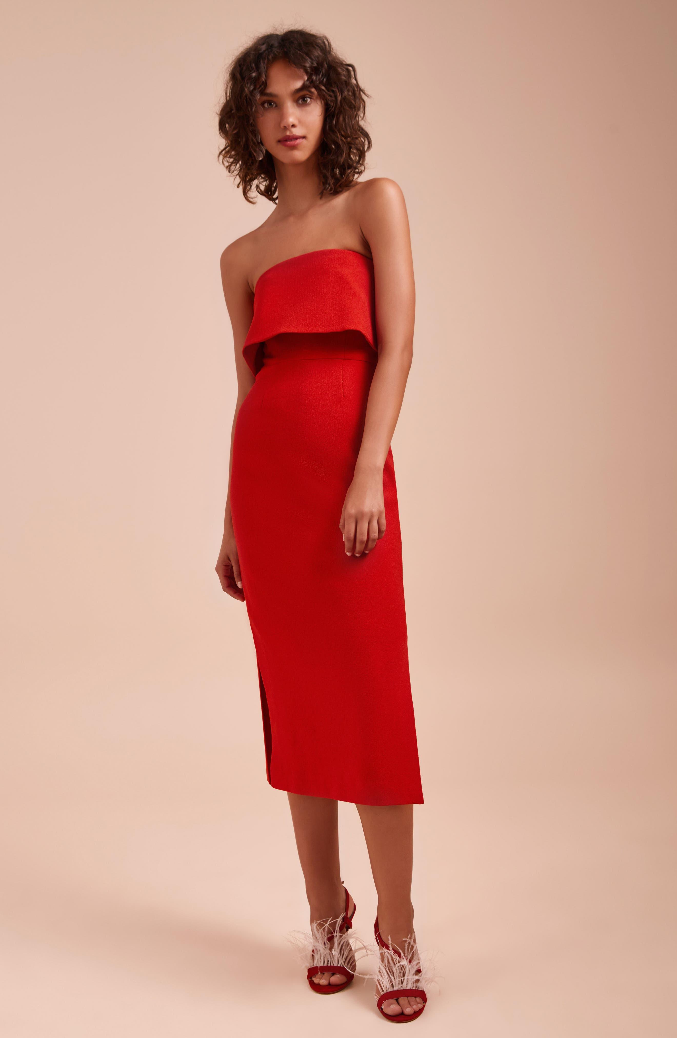 Entice Strapless Midi Dress,                             Alternate thumbnail 7, color,                             Red