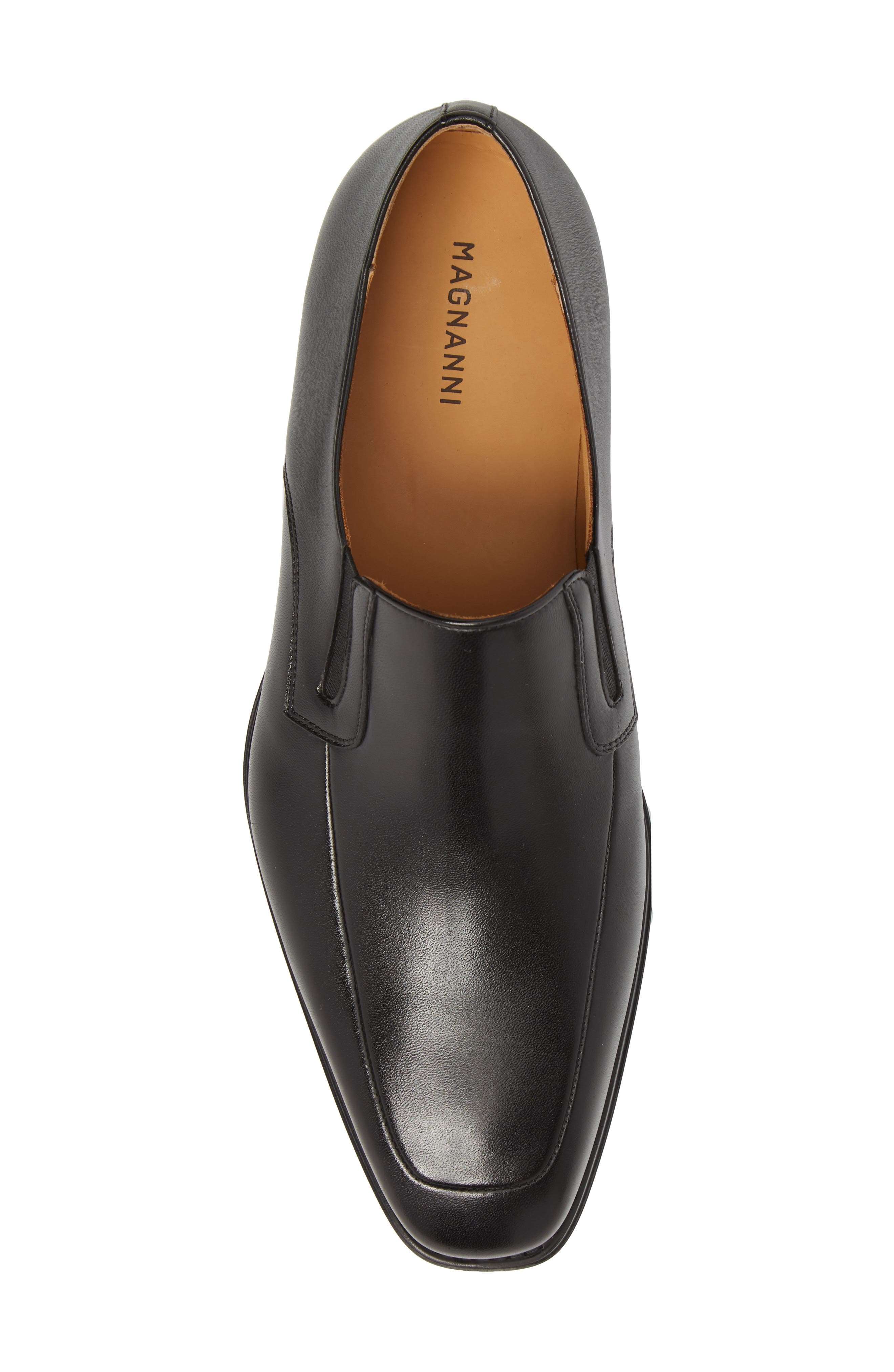 Fabricio Apron Toe Slip-On,                             Alternate thumbnail 4, color,                             Black Leather