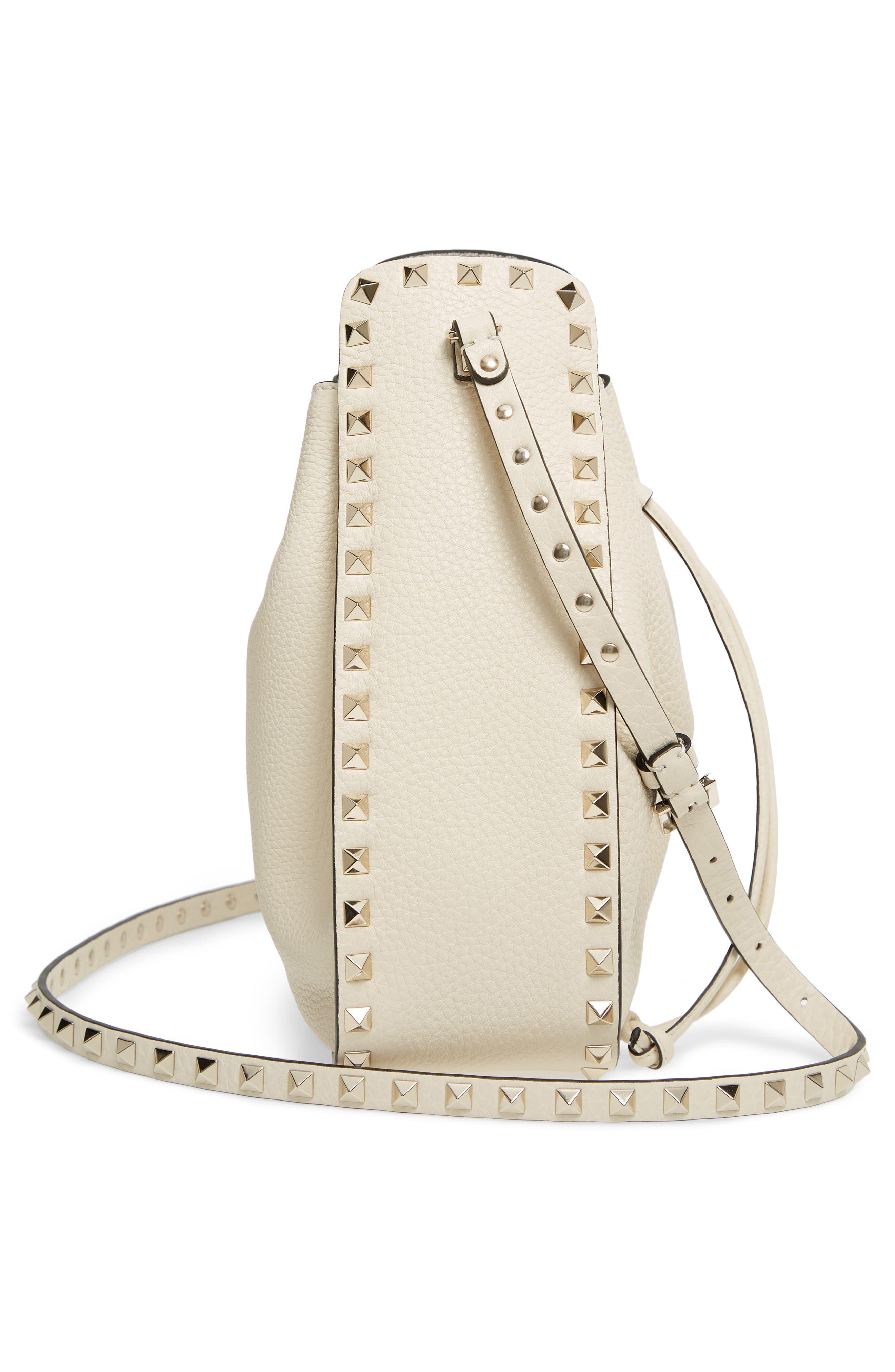 Large Rockstud Leather Bucket Bag,                             Alternate thumbnail 5, color,                             Ivory/ Gold