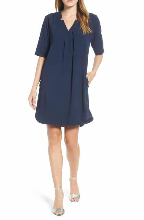 39db9efa140 Bobeau Pleat Front Curved Hem Shirtdress (Regular   Petite)