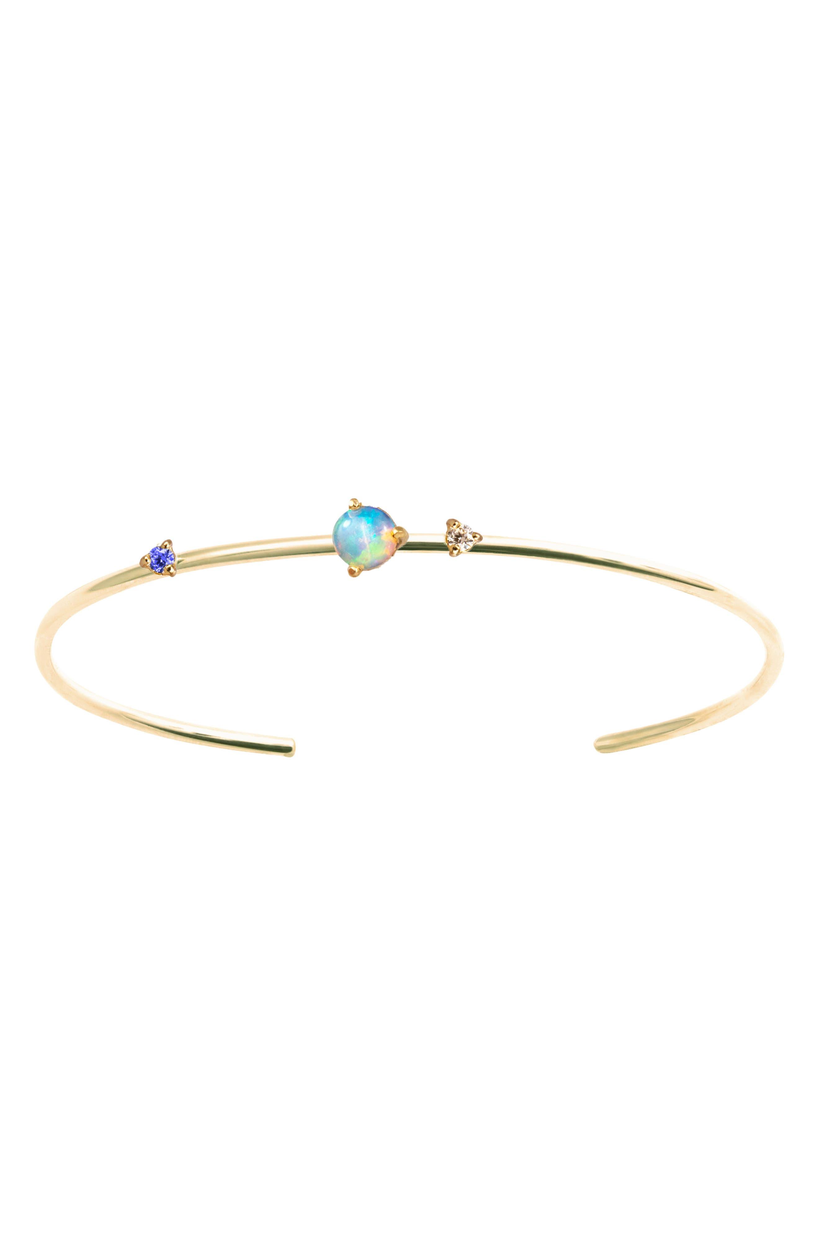 WWAKE Three Stone Opal, Diamond & Sapphire Cuff Bracelet