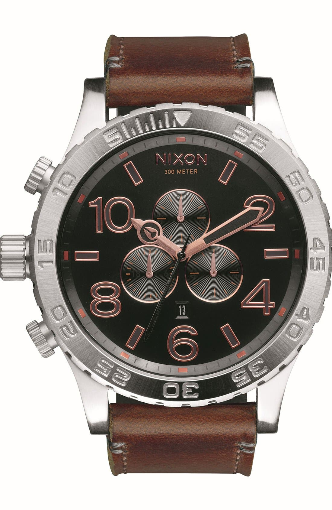 'The 51-30 Chrono' Watch, 51mm,                             Main thumbnail 1, color,                             Brown/ Silver/ Rose Gold