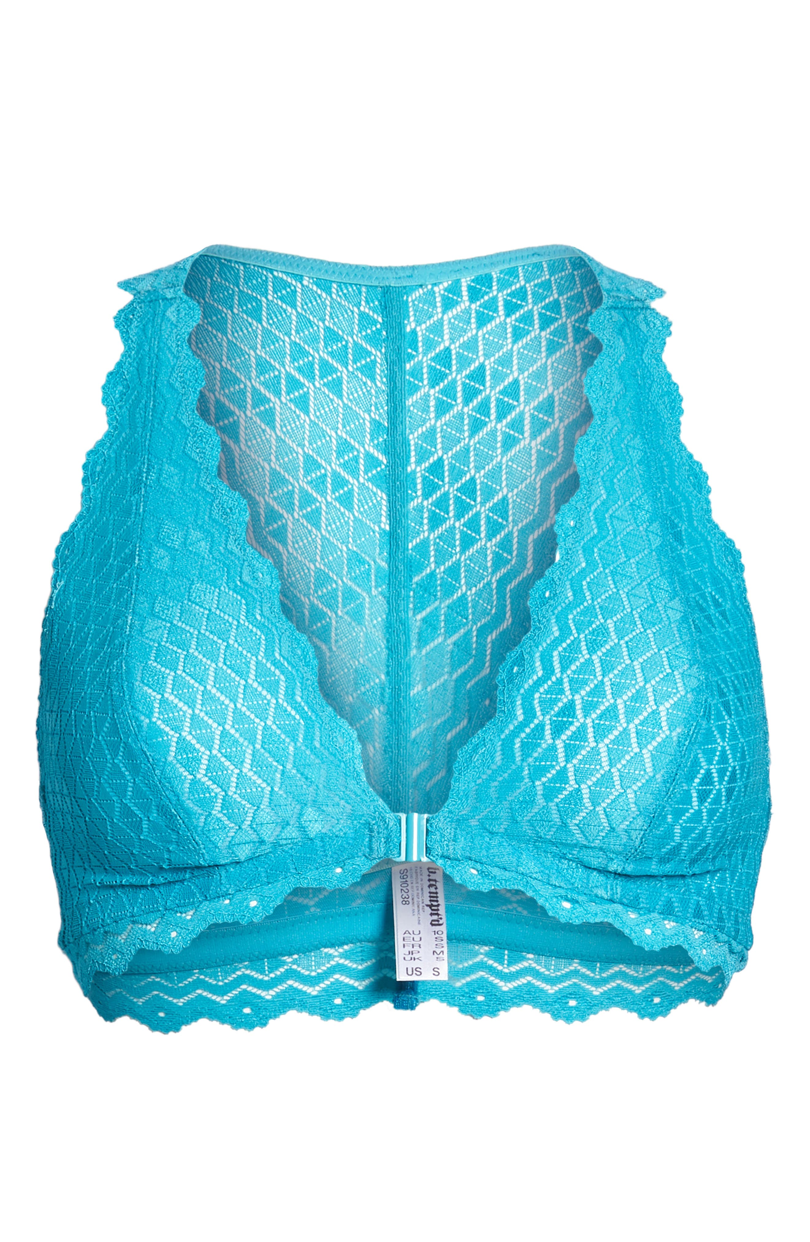 b.tempted by Wacoal Plunge Lace Bralette,                             Alternate thumbnail 9, color,                             Peacock Blue