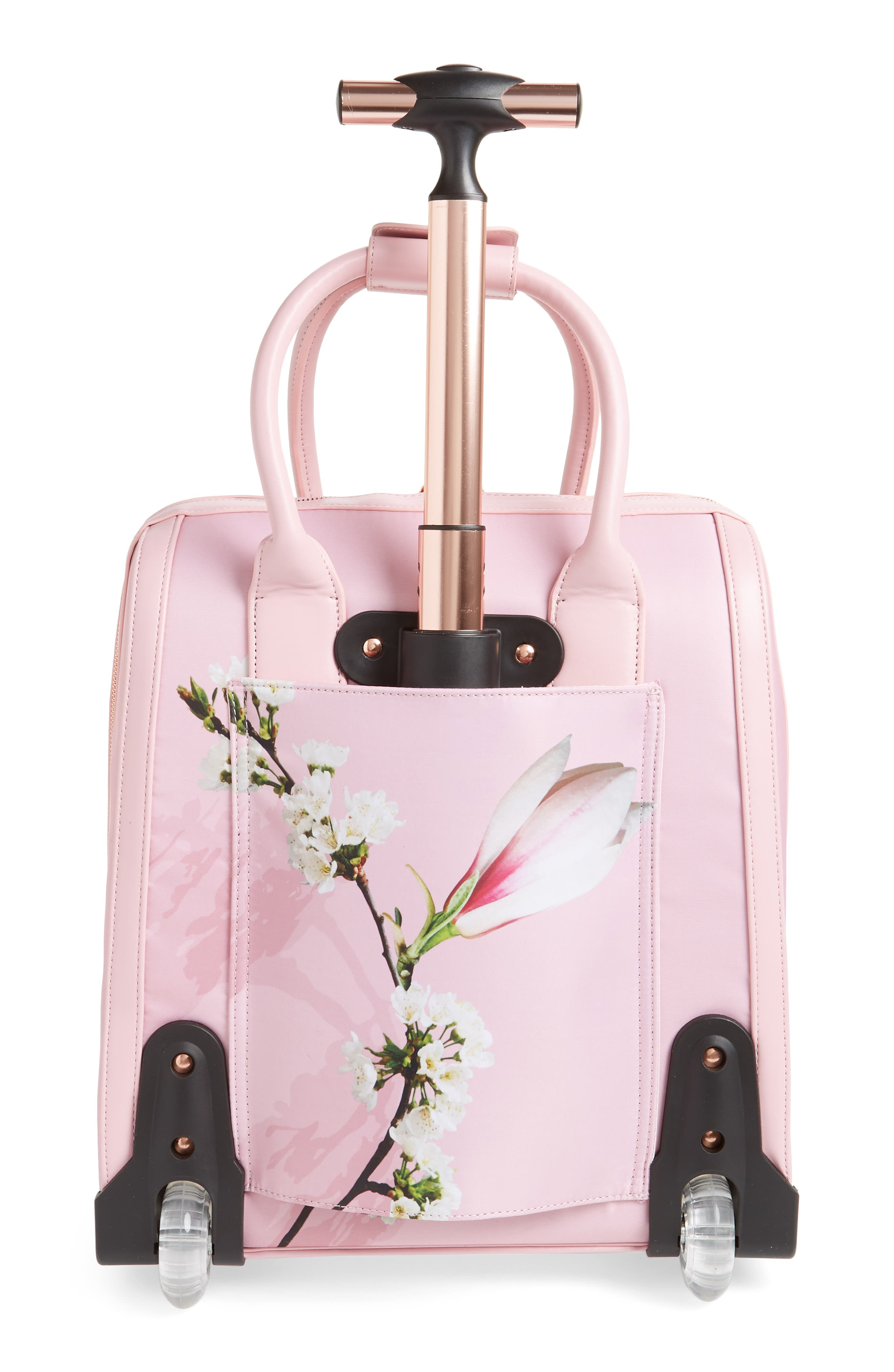 Caliie Harmony Rolling Faux Leather Travel Bag,                             Alternate thumbnail 4, color,                             Pale Pink