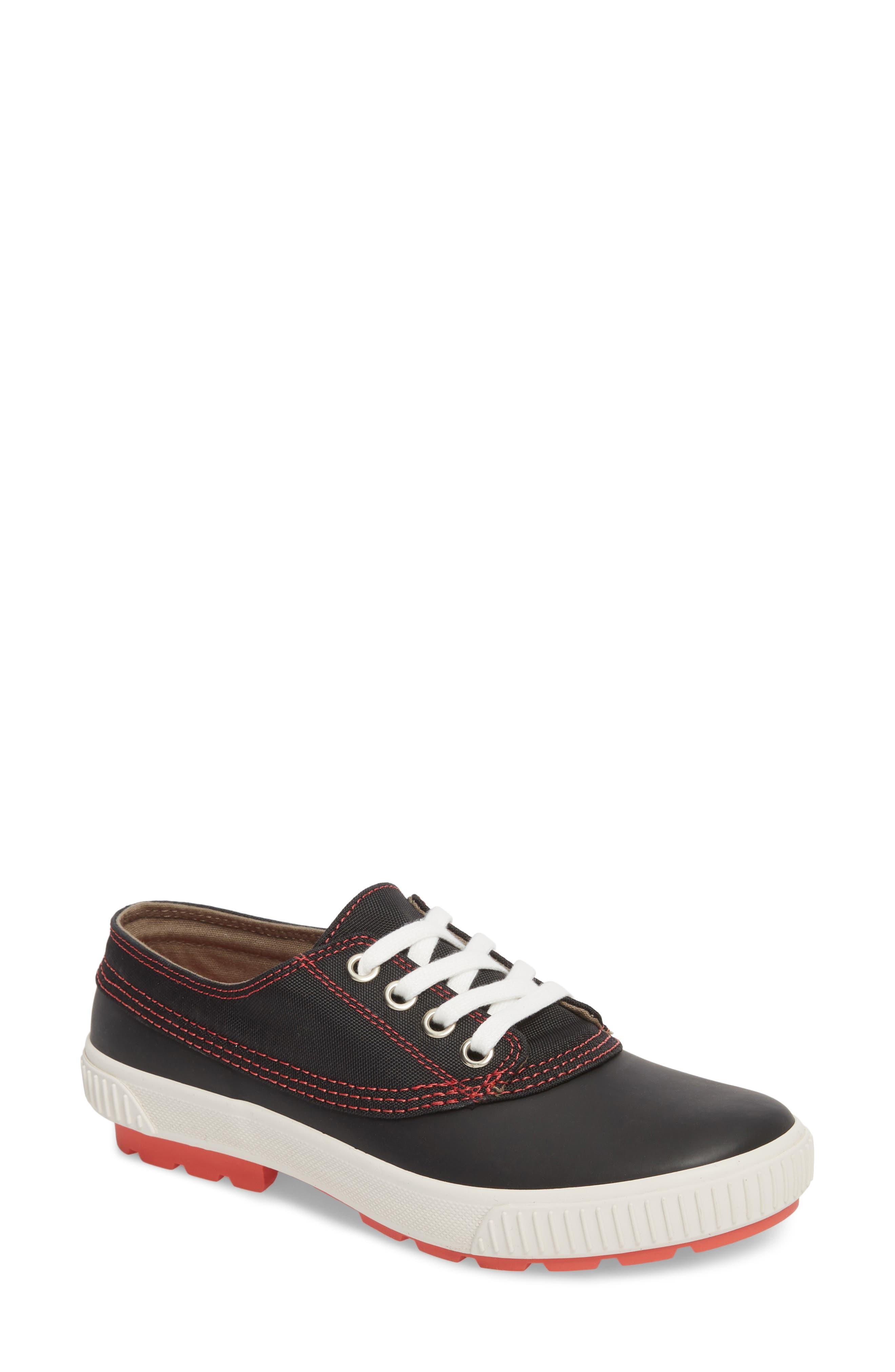 Dash Duck Sneaker,                             Main thumbnail 1, color,                             Black/ Coral