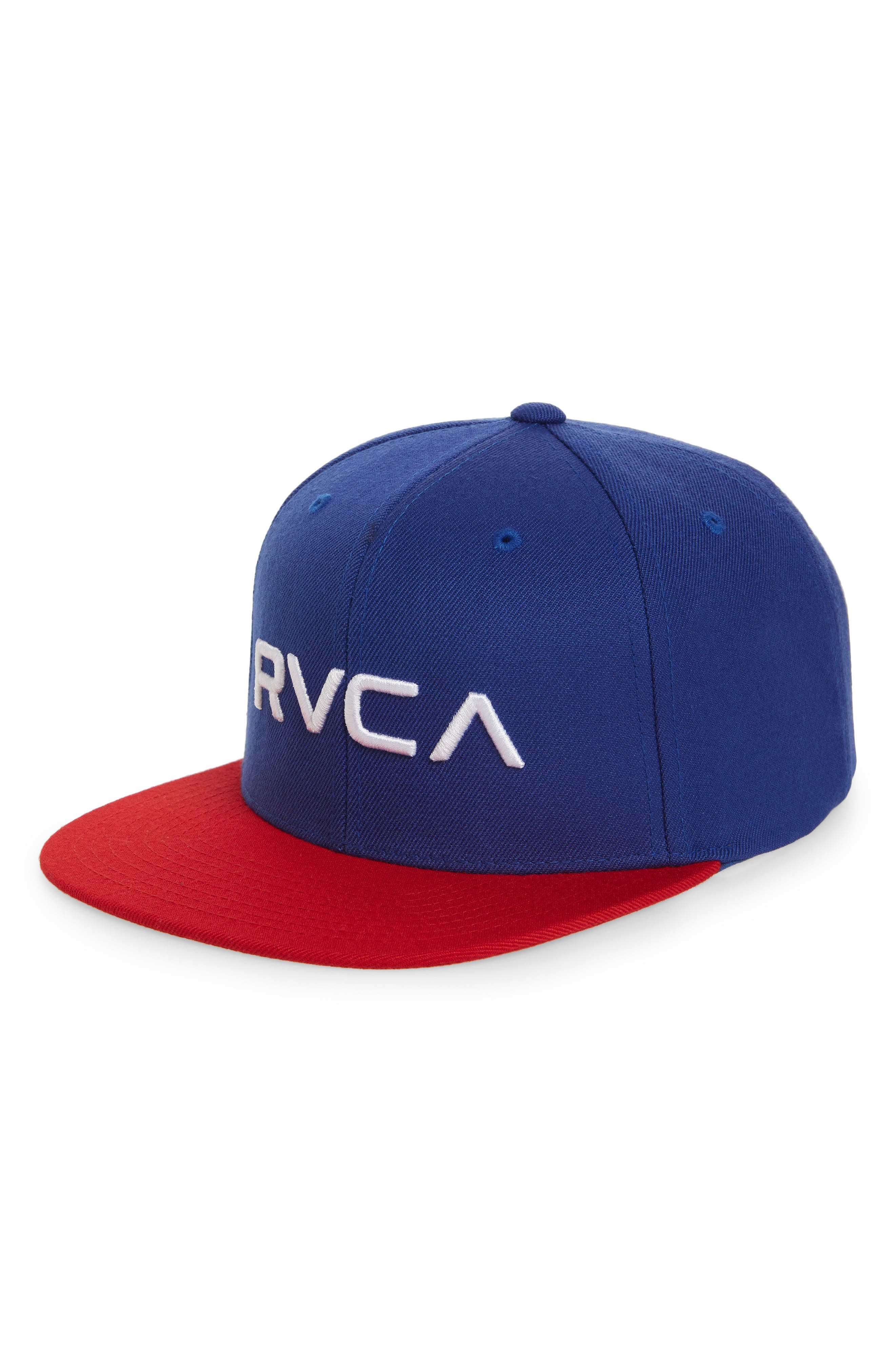 Twill Snapback Baseball Cap,                         Main,                         color, Blue/ Red