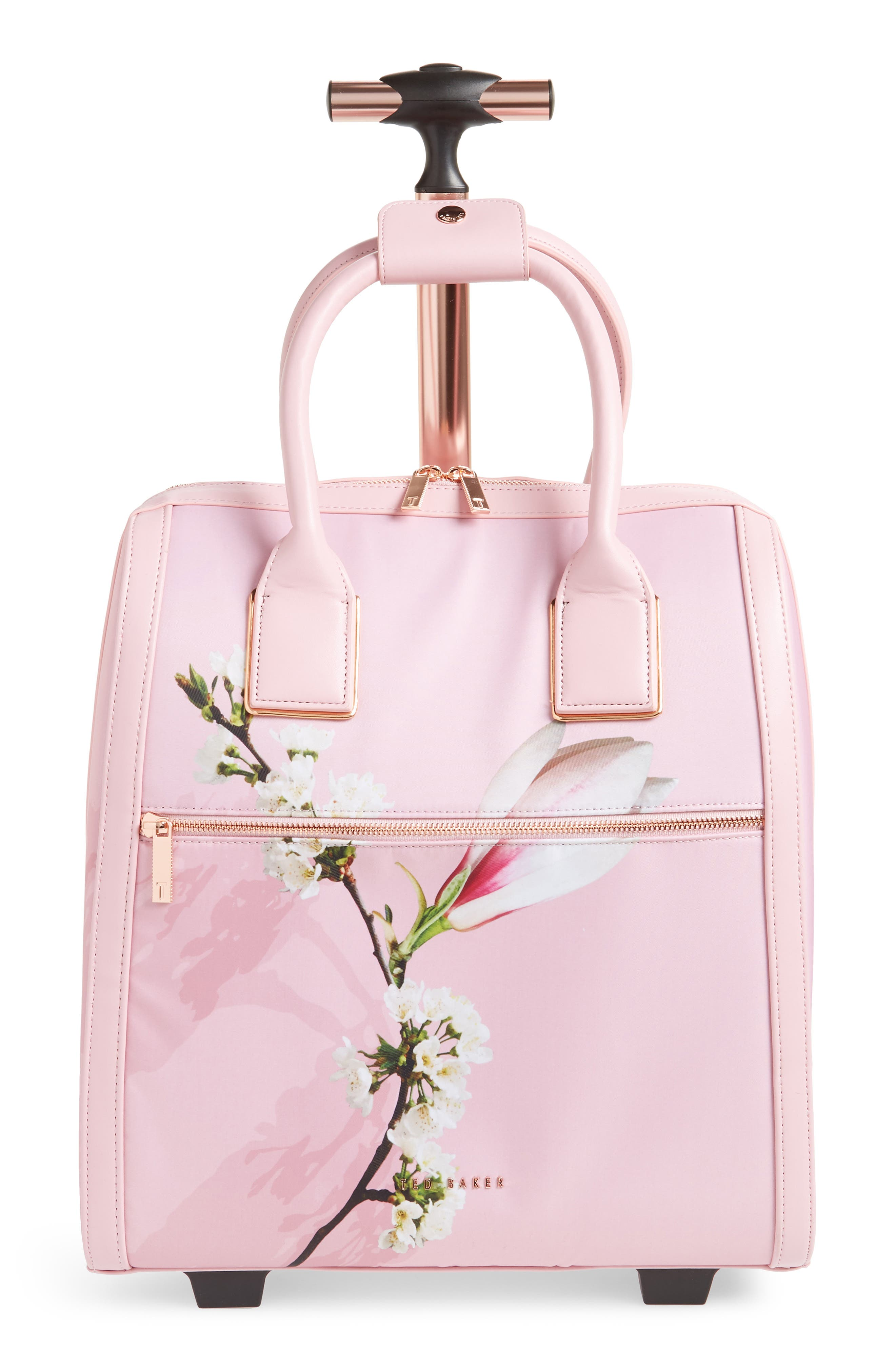 Caliie Harmony Rolling Faux Leather Travel Bag,                             Main thumbnail 1, color,                             Pale Pink