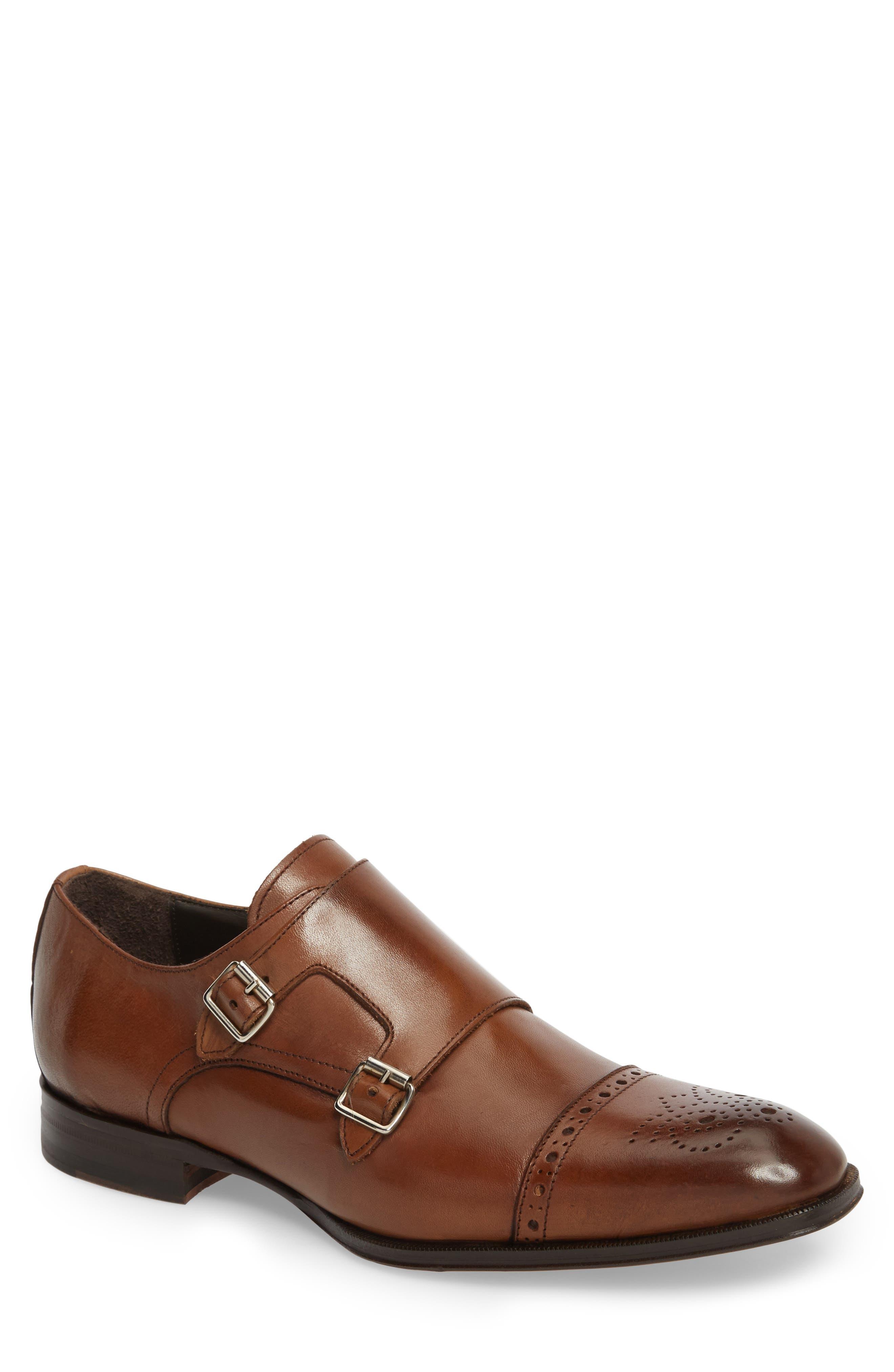 Dreyfus Cap Toe Monk Shoe,                             Main thumbnail 1, color,                             Brown