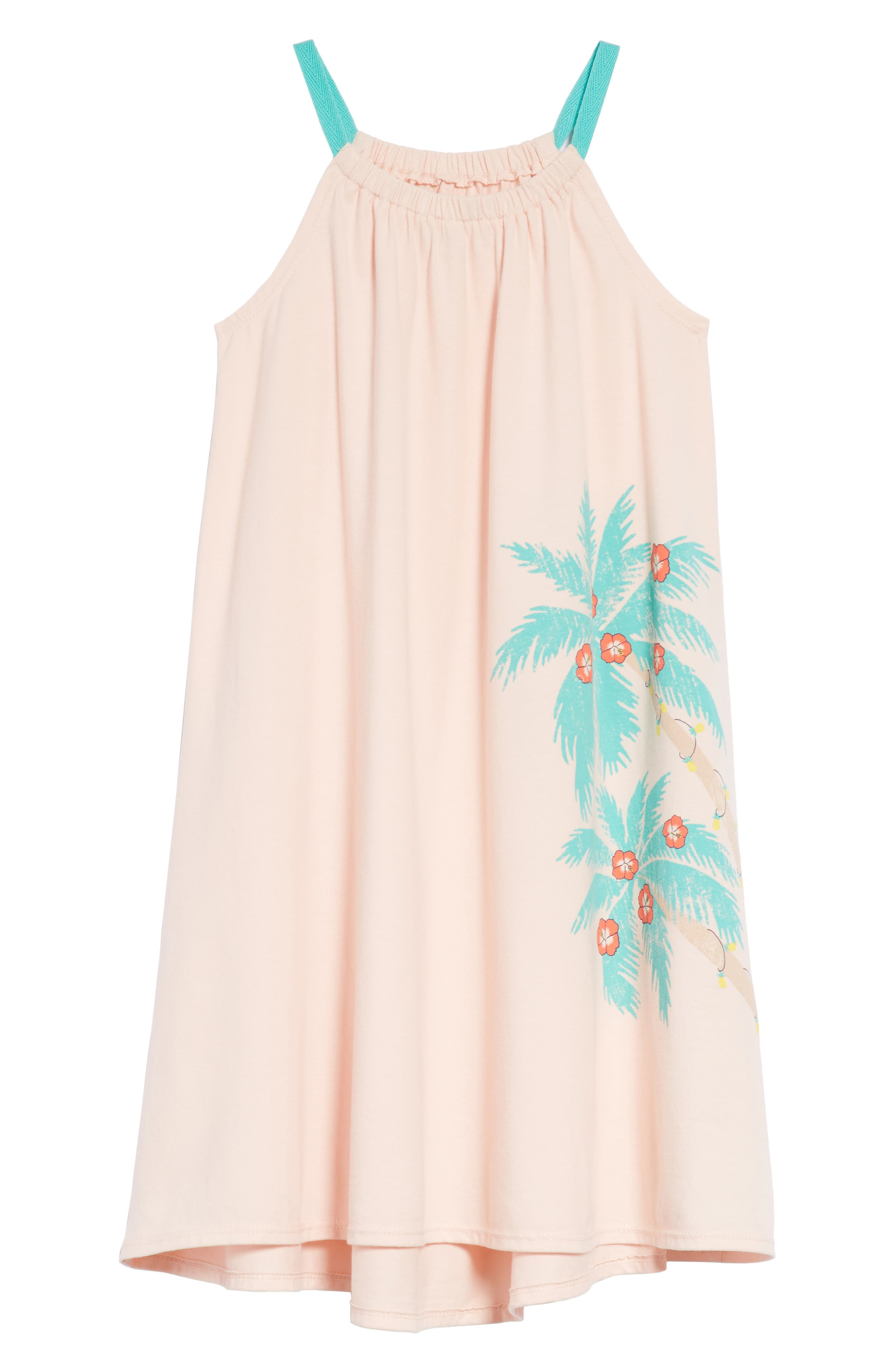 Palm Trees Graphic Swing Dress,                             Main thumbnail 1, color,                             Pink Chintz Palm Trees