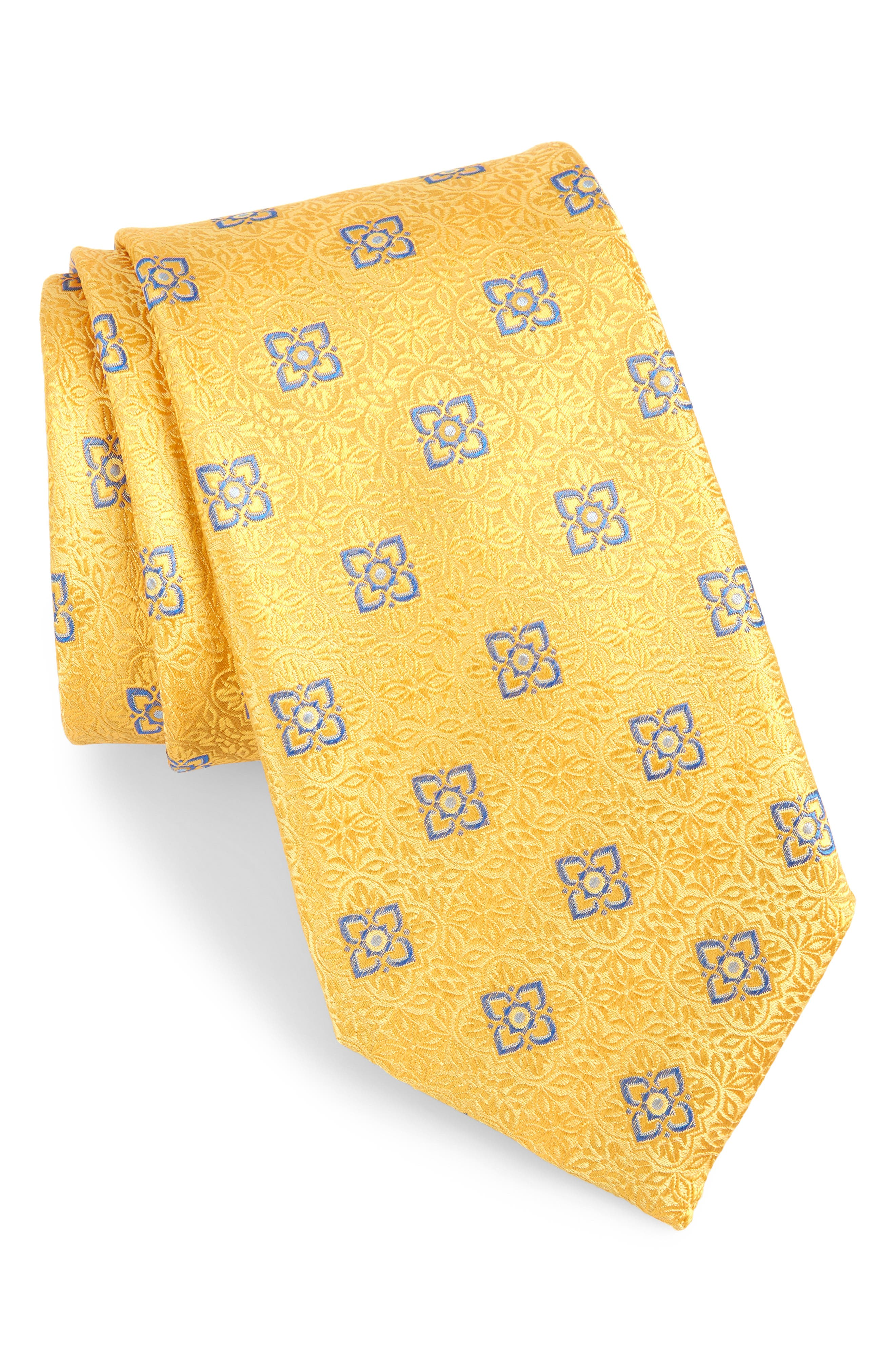 Medallion Silk Tie,                             Main thumbnail 1, color,                             Yellow