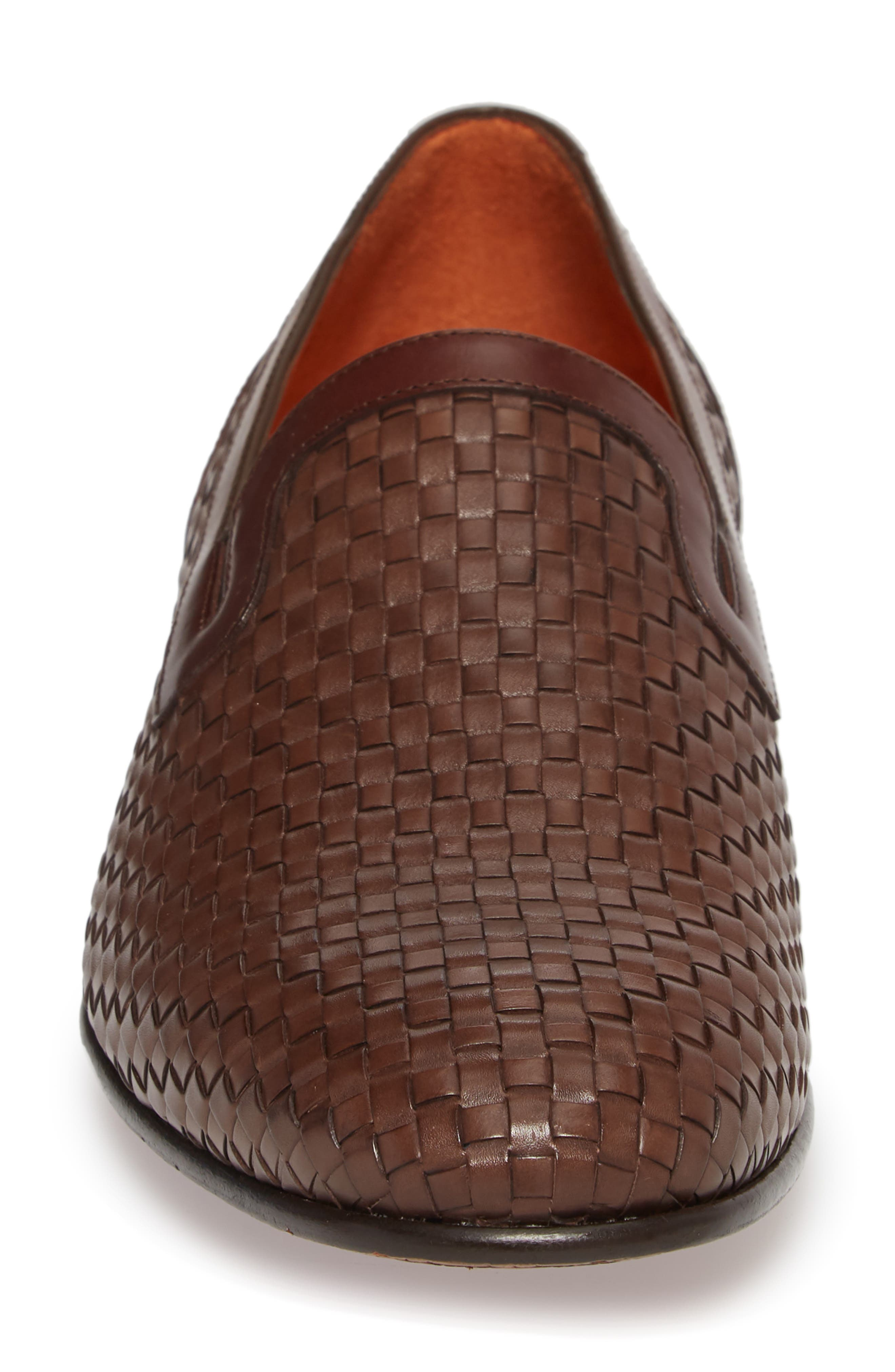 Eliseo Woven Venetian Loafer,                             Alternate thumbnail 4, color,                             Brown Leather