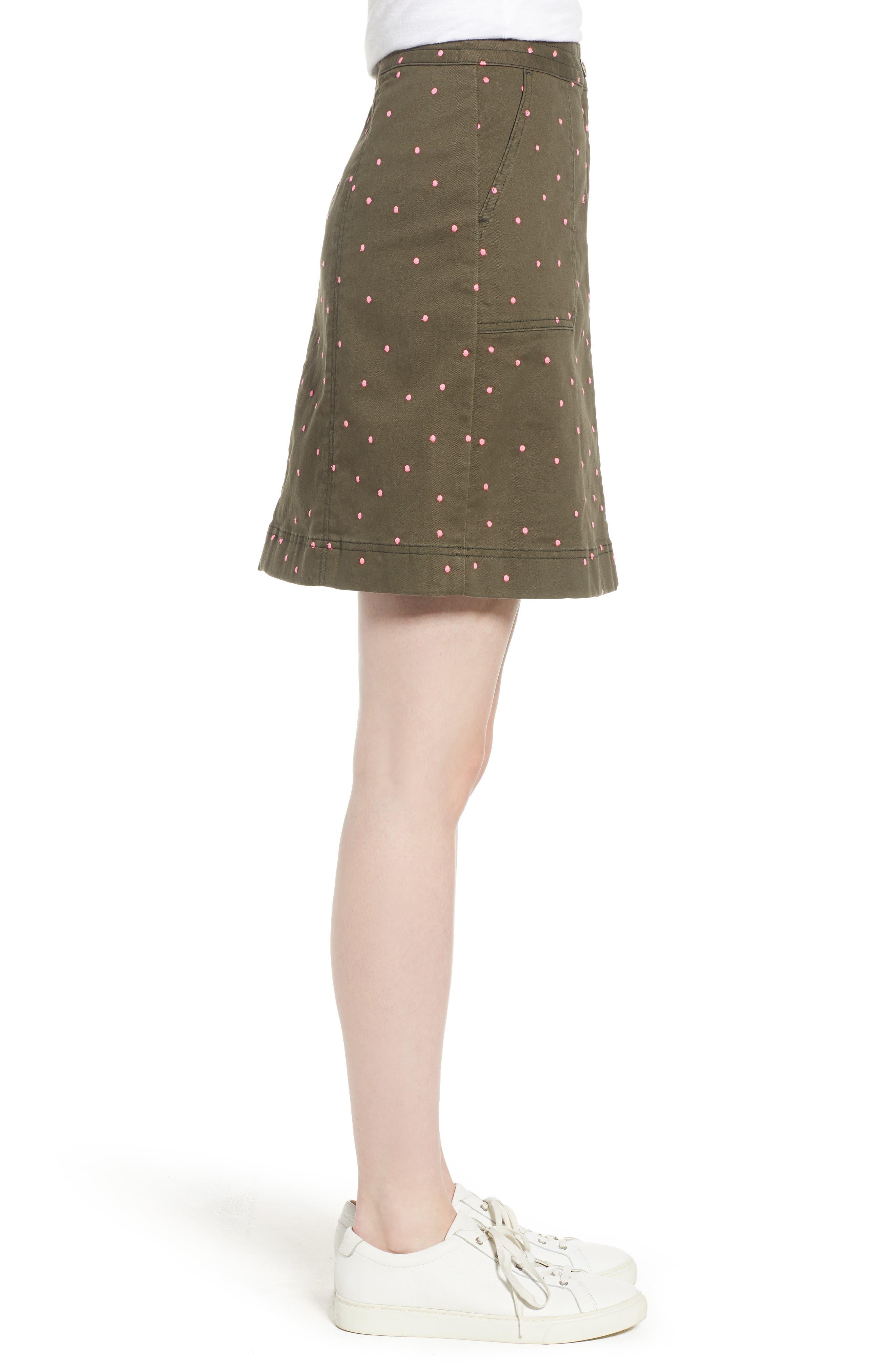 Stretch Cotton A-Line Skirt,                             Alternate thumbnail 4, color,                             Khaki With Fluro Pin