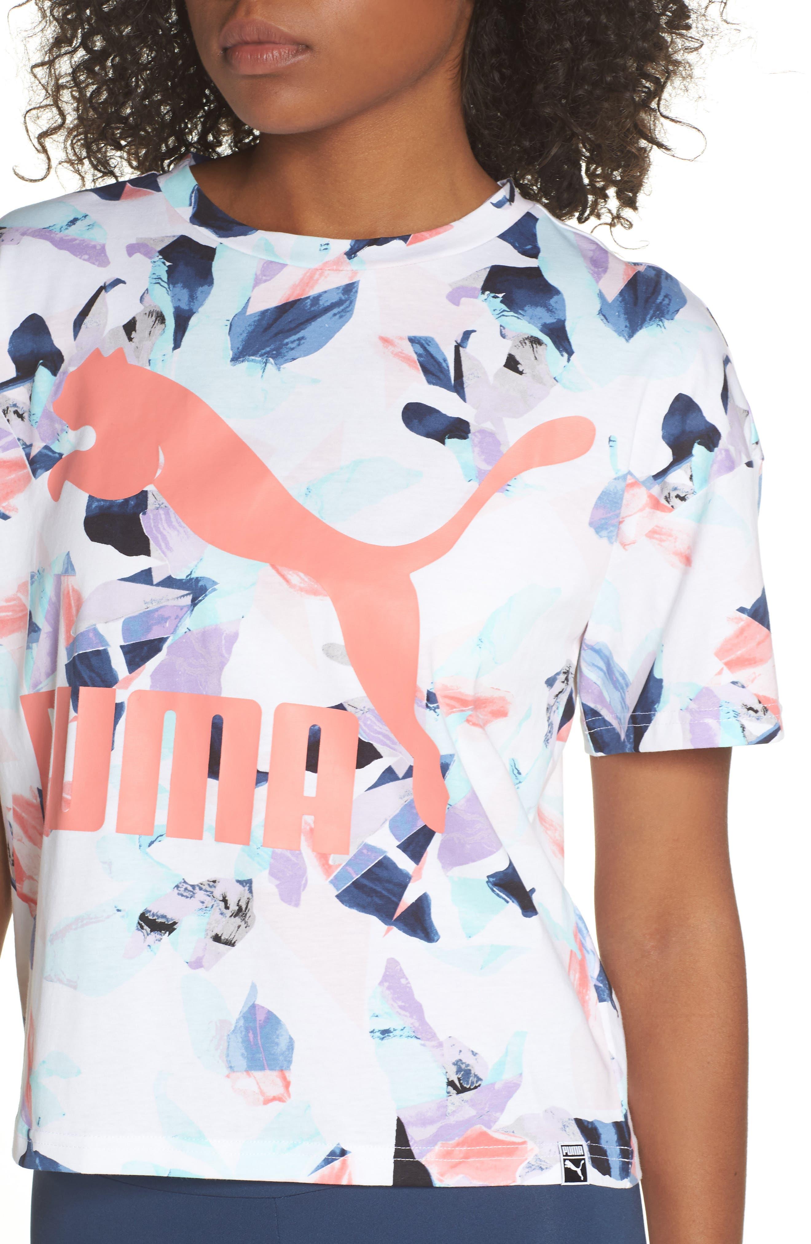 Classics Logo Tee,                             Alternate thumbnail 4, color,                             Shell Pink-Aop