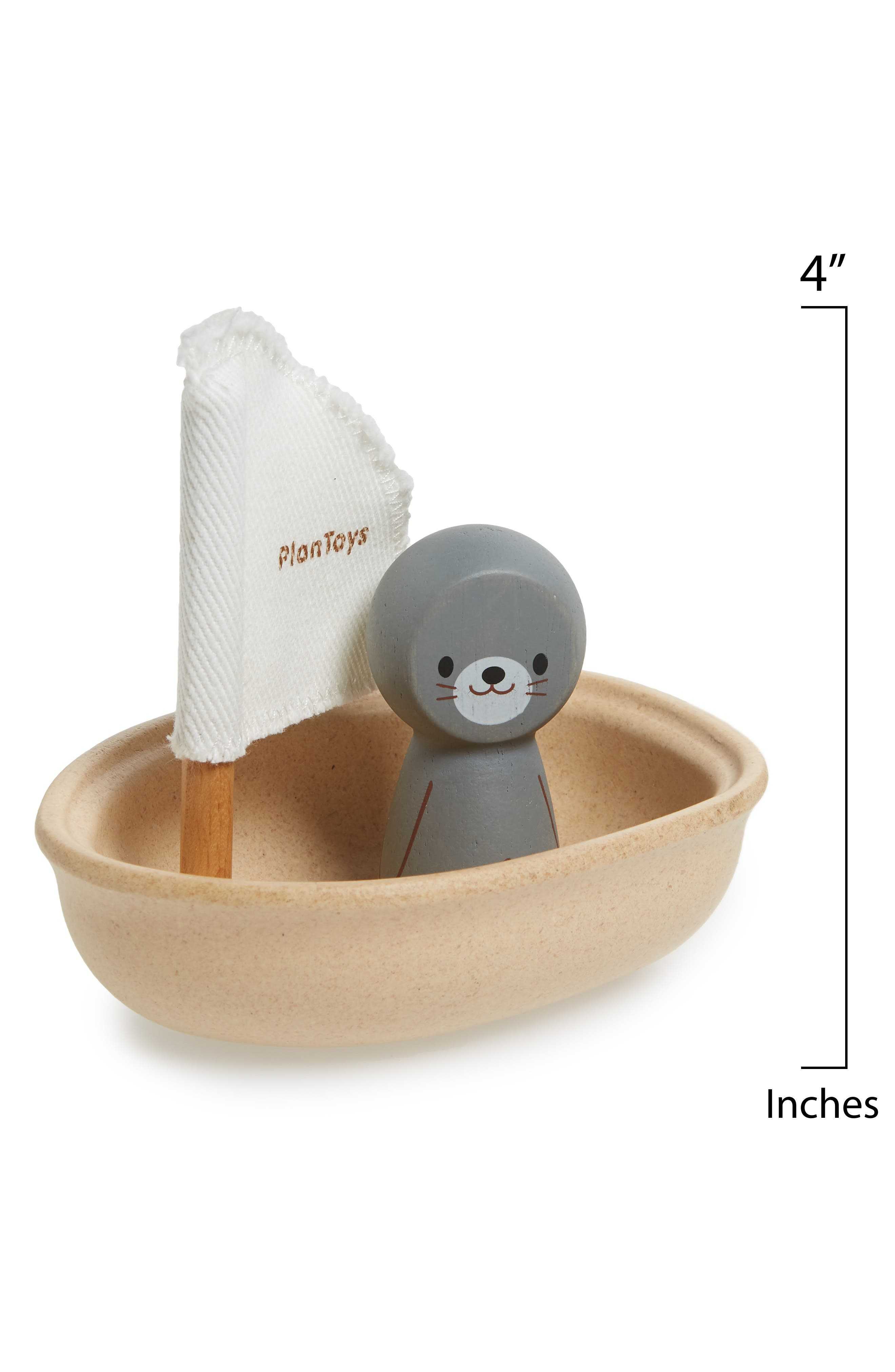 Plan Toys<sup>®</sup> Seal Sailing Boat Toy,                             Alternate thumbnail 2, color,                             Brown
