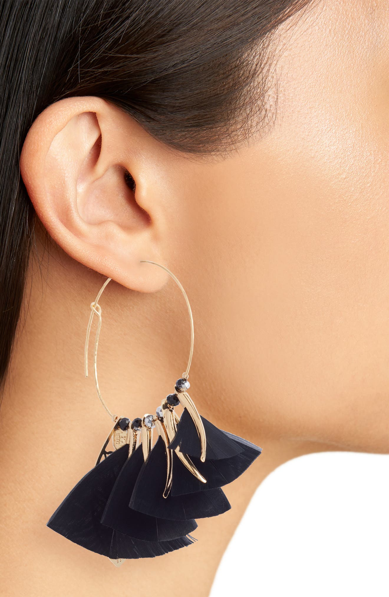 Marly Feather Drop Earrings,                             Alternate thumbnail 2, color,                             Black/ Tige