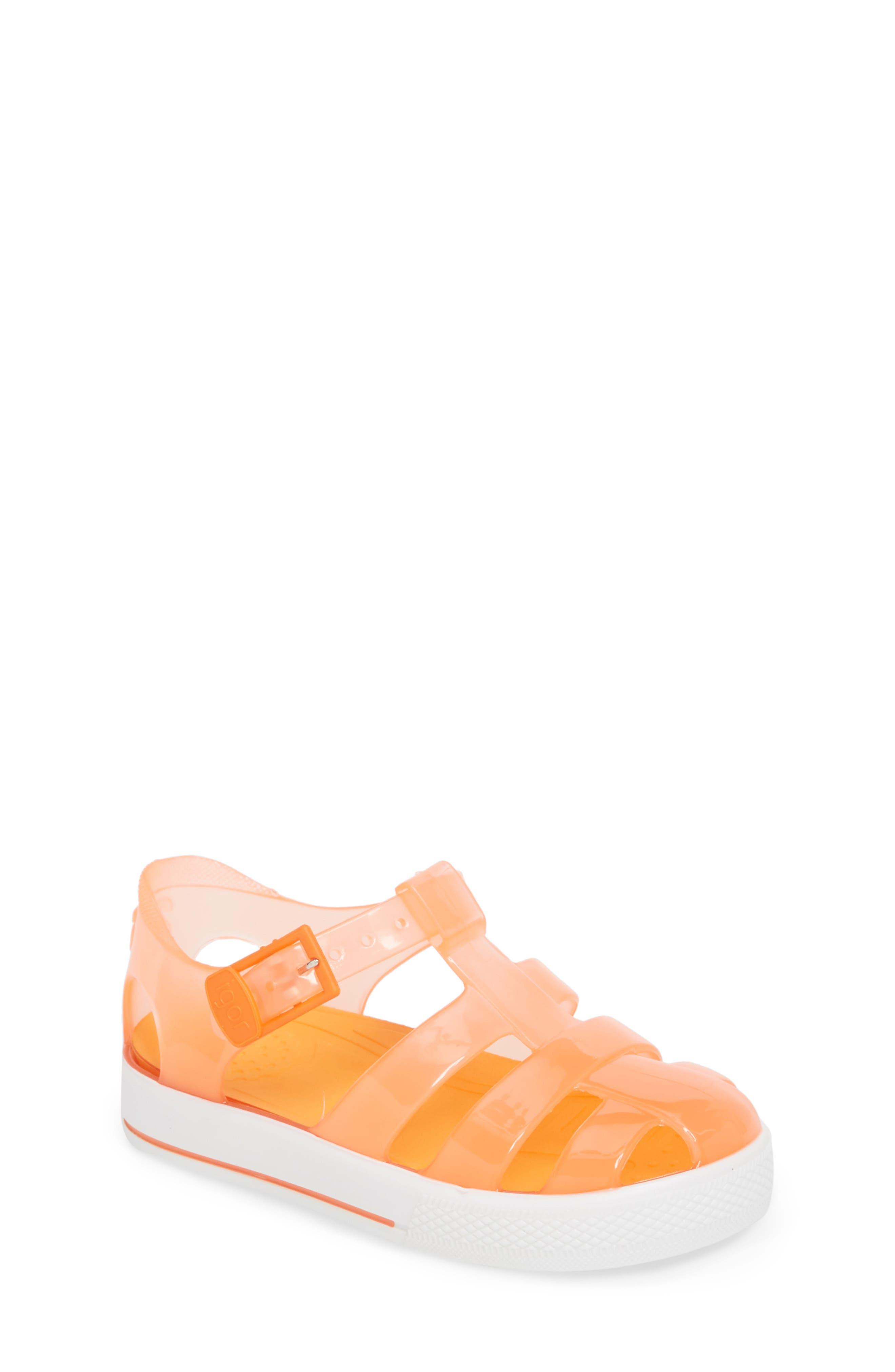 Tenis Fisherman Jelly Sandal,                             Main thumbnail 1, color,                             Crystal Neon Orange