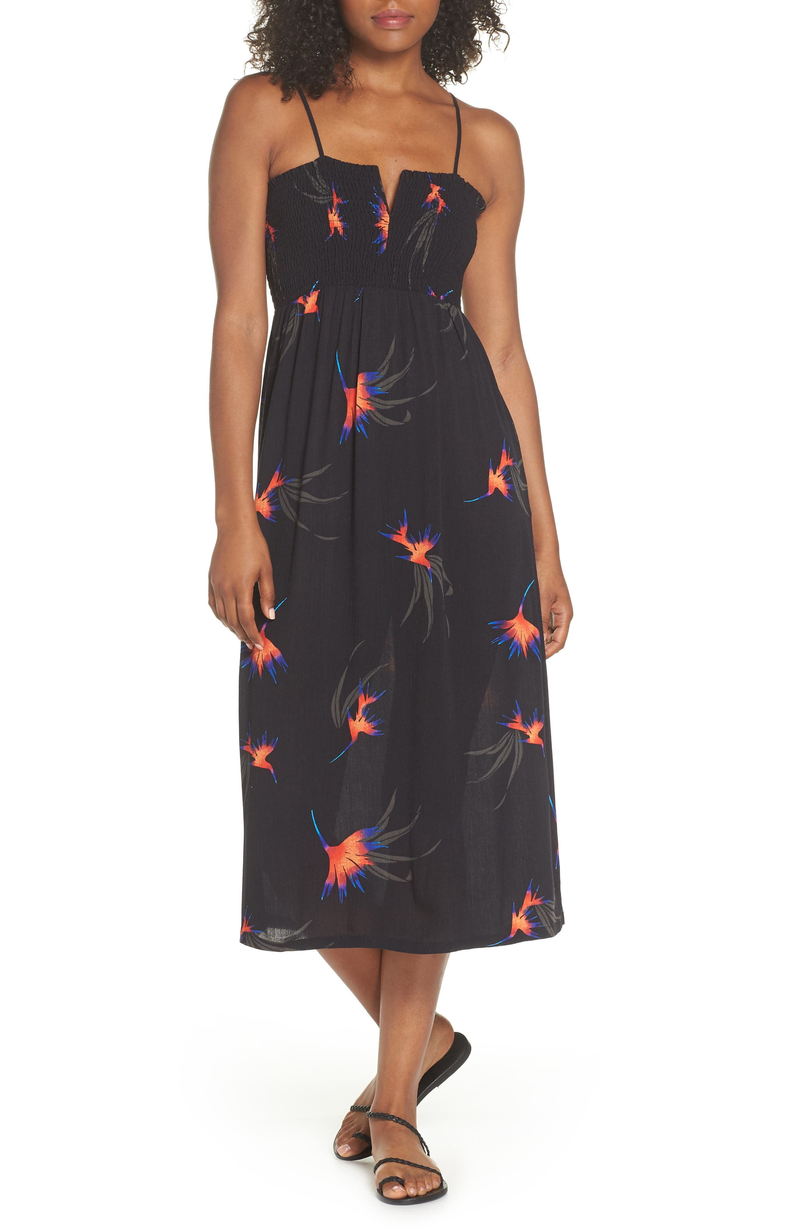 Sydney Midi Dress,                             Main thumbnail 1, color,                             Black Paradise City Print
