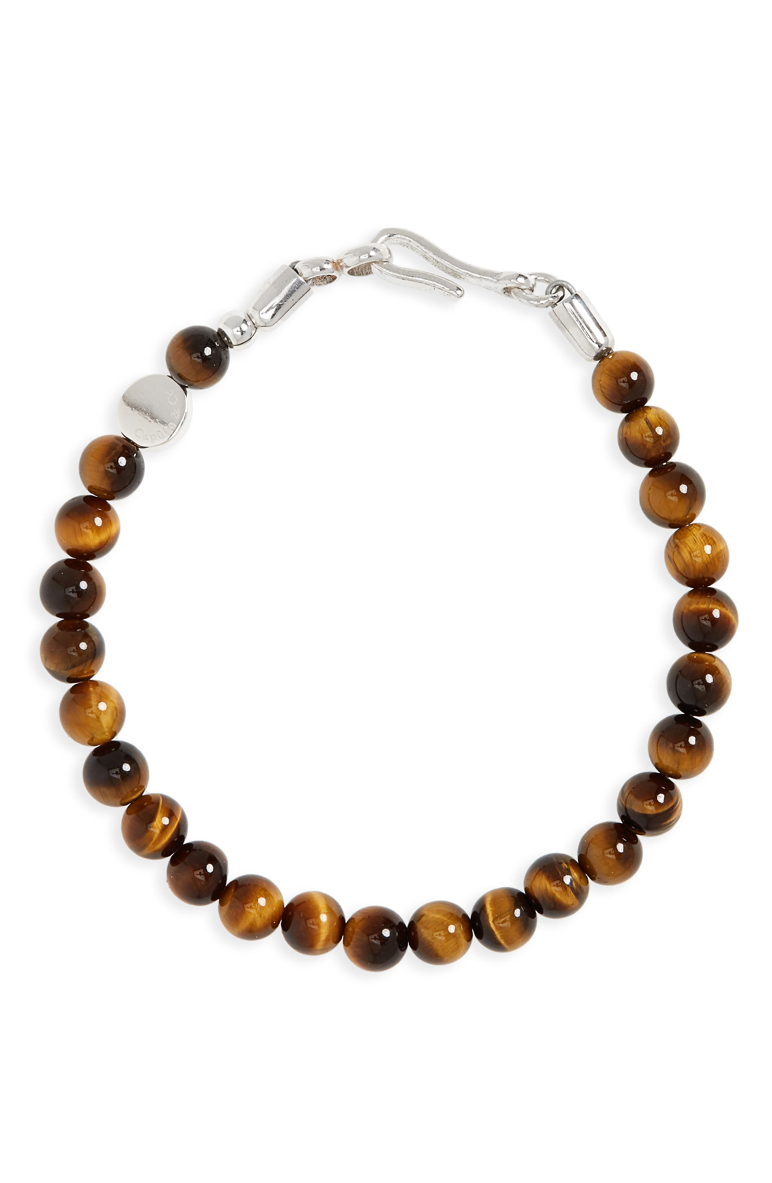 Stone Bead Bracelet,                             Main thumbnail 1, color,                             Yellow Tiger Eye