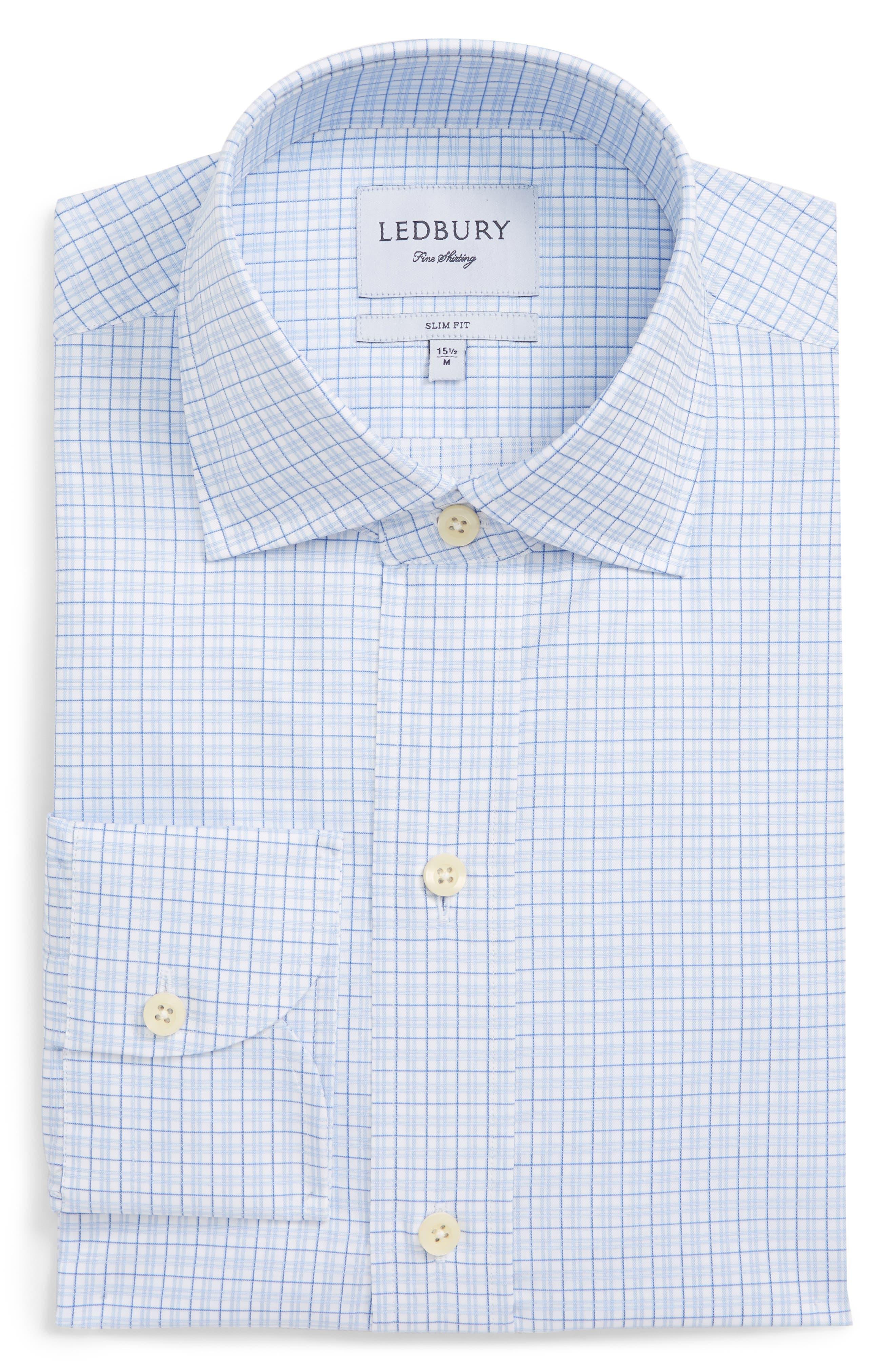 Moorland Trim Fit Check Dress Shirt,                             Alternate thumbnail 6, color,                             Blue