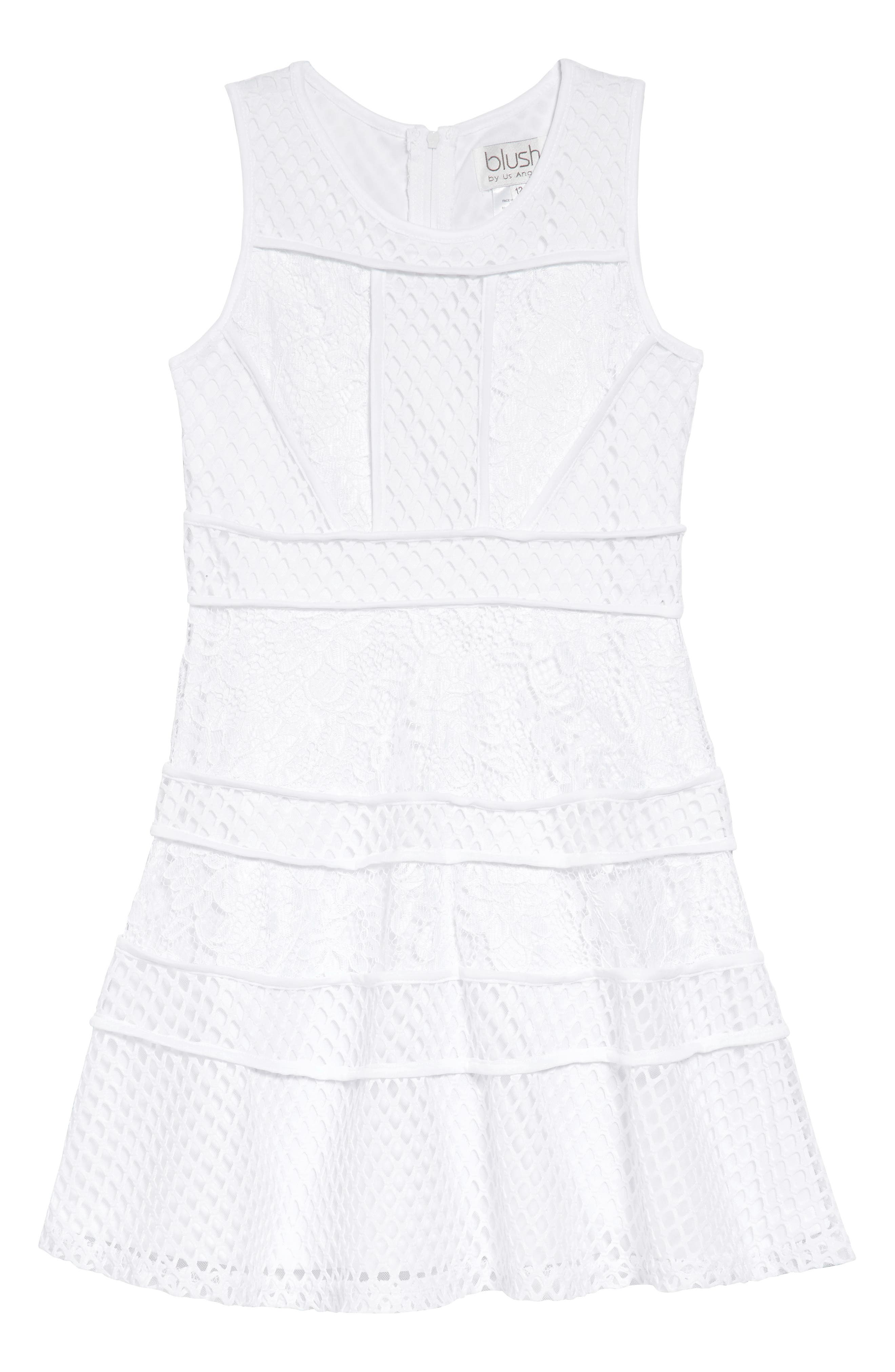 Lace & Mesh Tiered Dress,                         Main,                         color, White