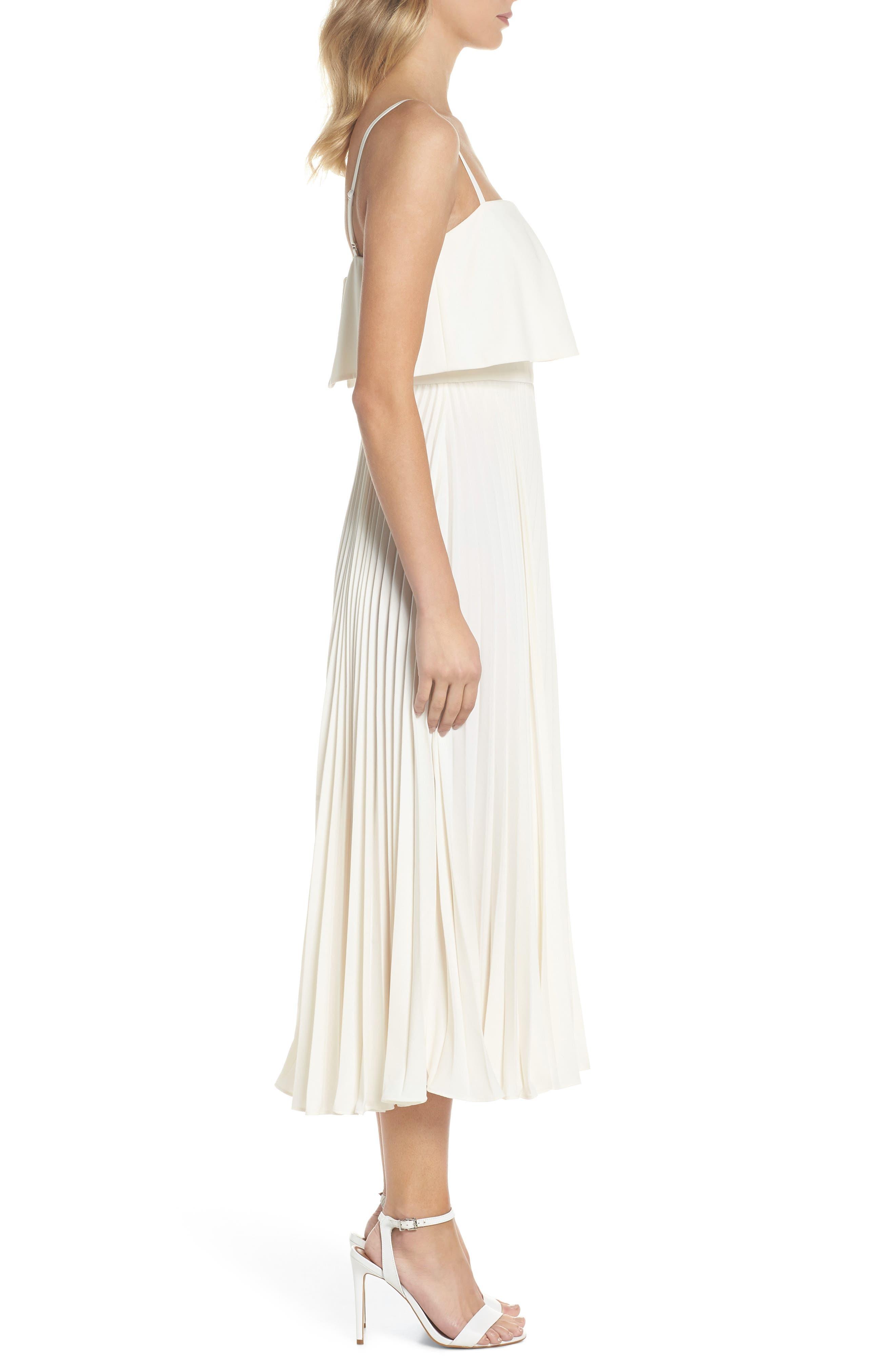 Pleated Midi Dress,                             Alternate thumbnail 3, color,                             Bone