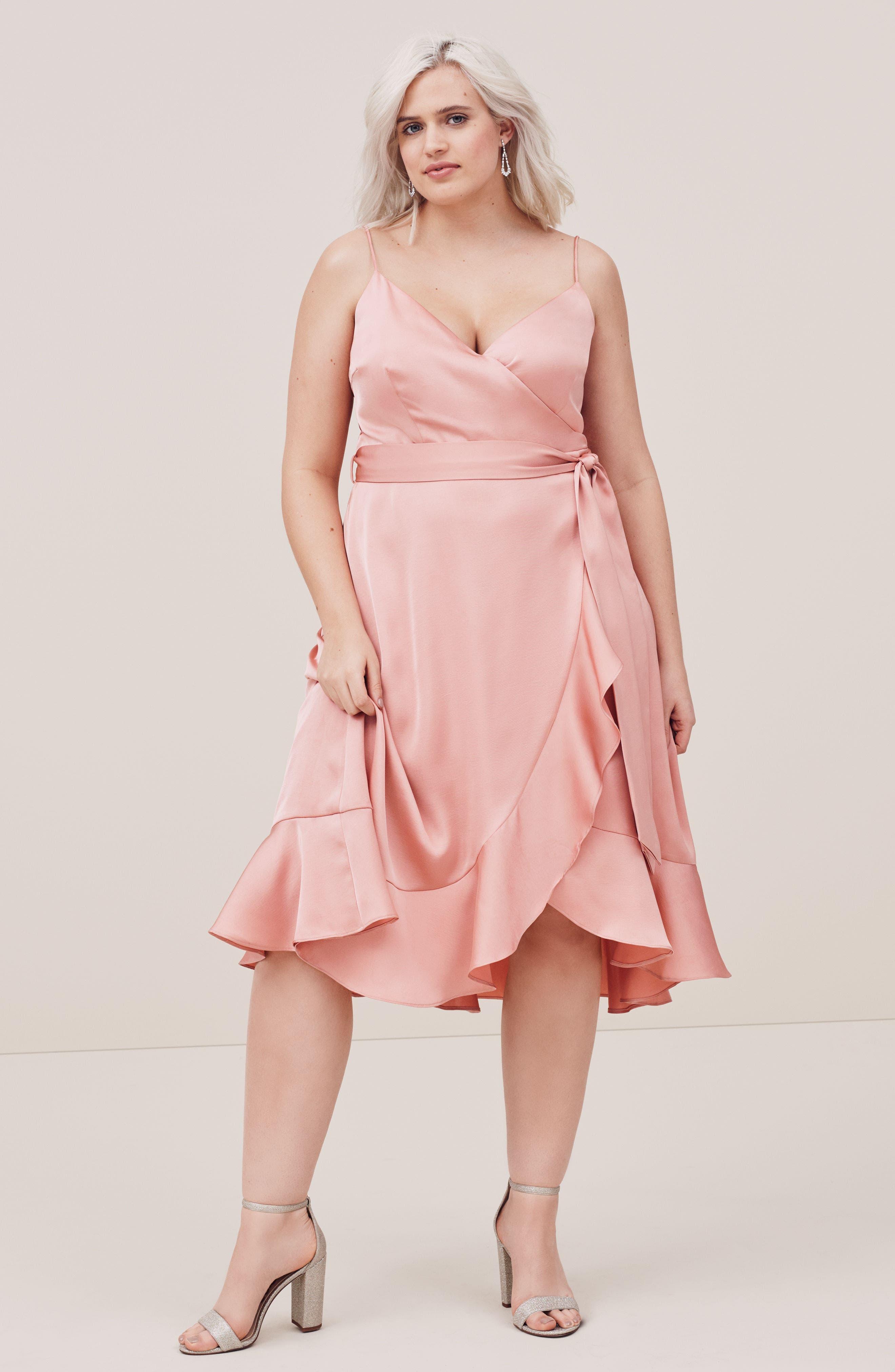 Marilyn Satin Faux Wrap Dress,                             Alternate thumbnail 2, color,                             Coral Haze