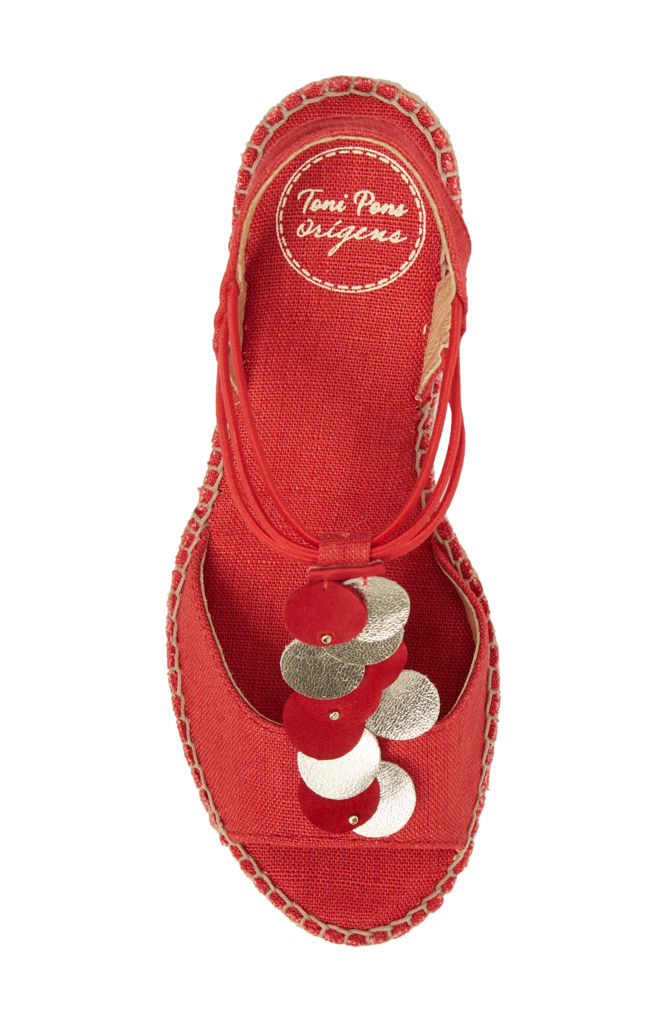 Sitges Espadrille Sandal,                             Alternate thumbnail 5, color,                             Red Fabric