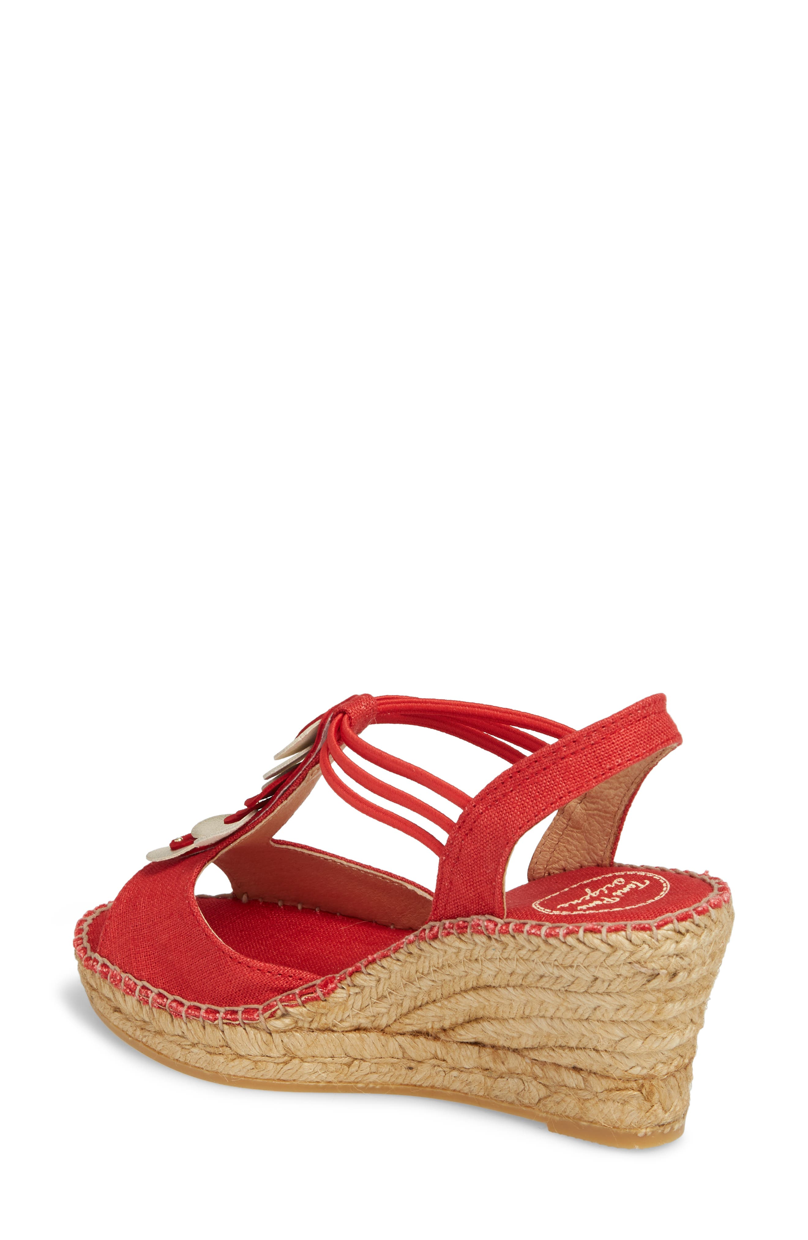 Sitges Espadrille Sandal,                             Alternate thumbnail 2, color,                             Red Fabric