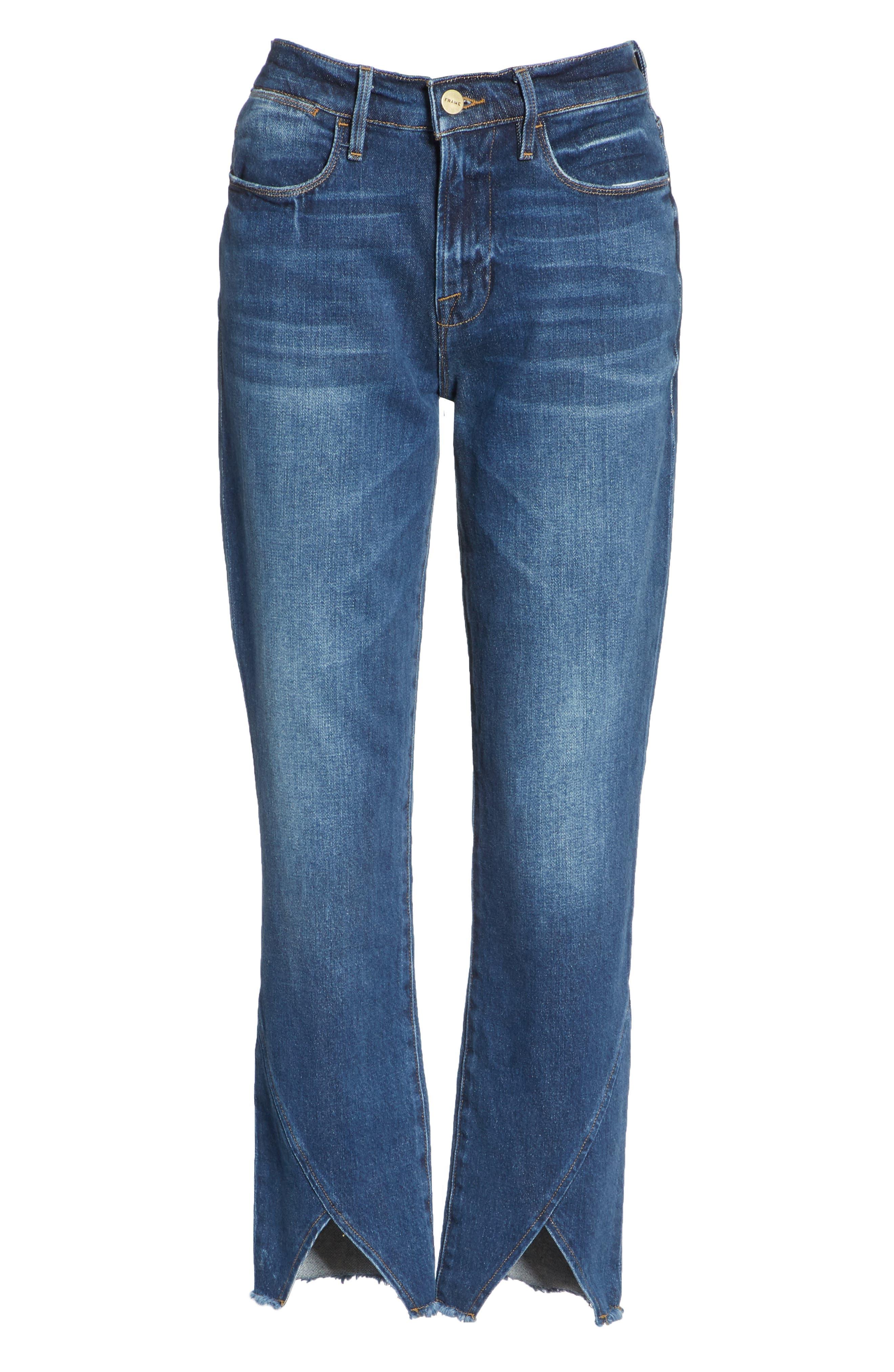 Le High Straight Asymmetrical Hem Jeans,                             Alternate thumbnail 7, color,                             Kingsway