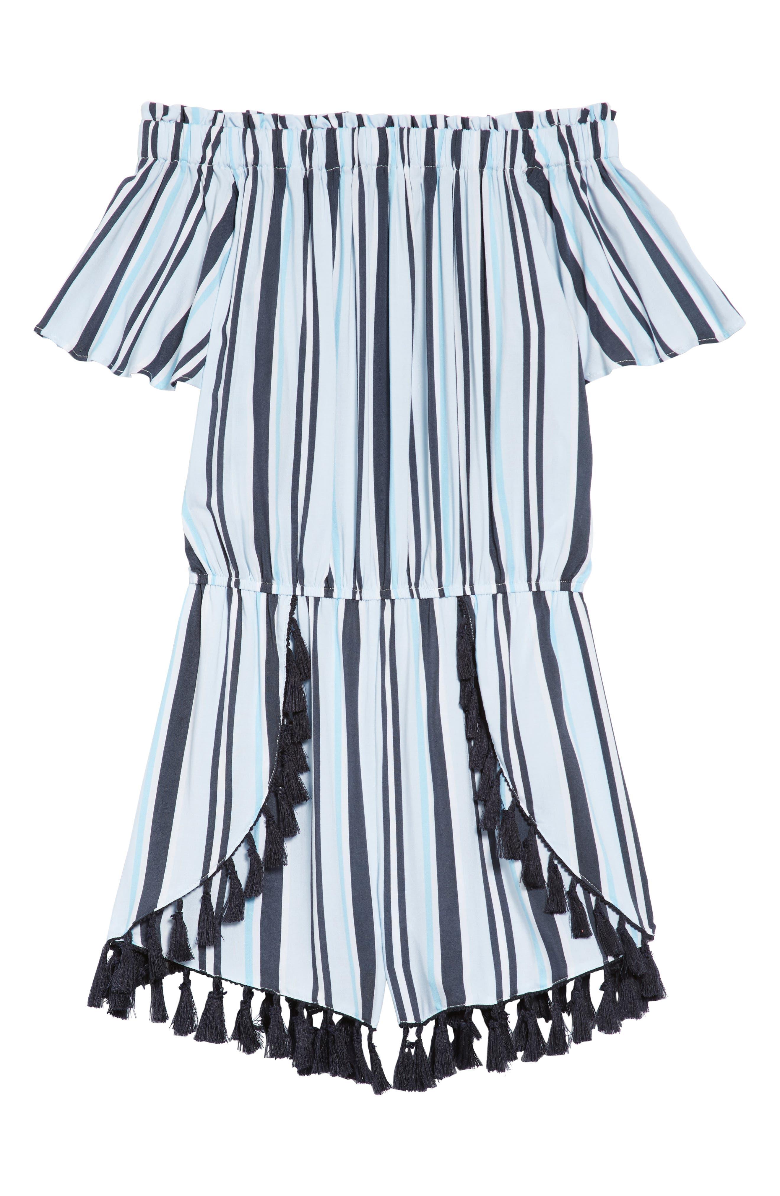 Stripe Fringe Off-the-Shoulder Romper,                         Main,                         color, Blue