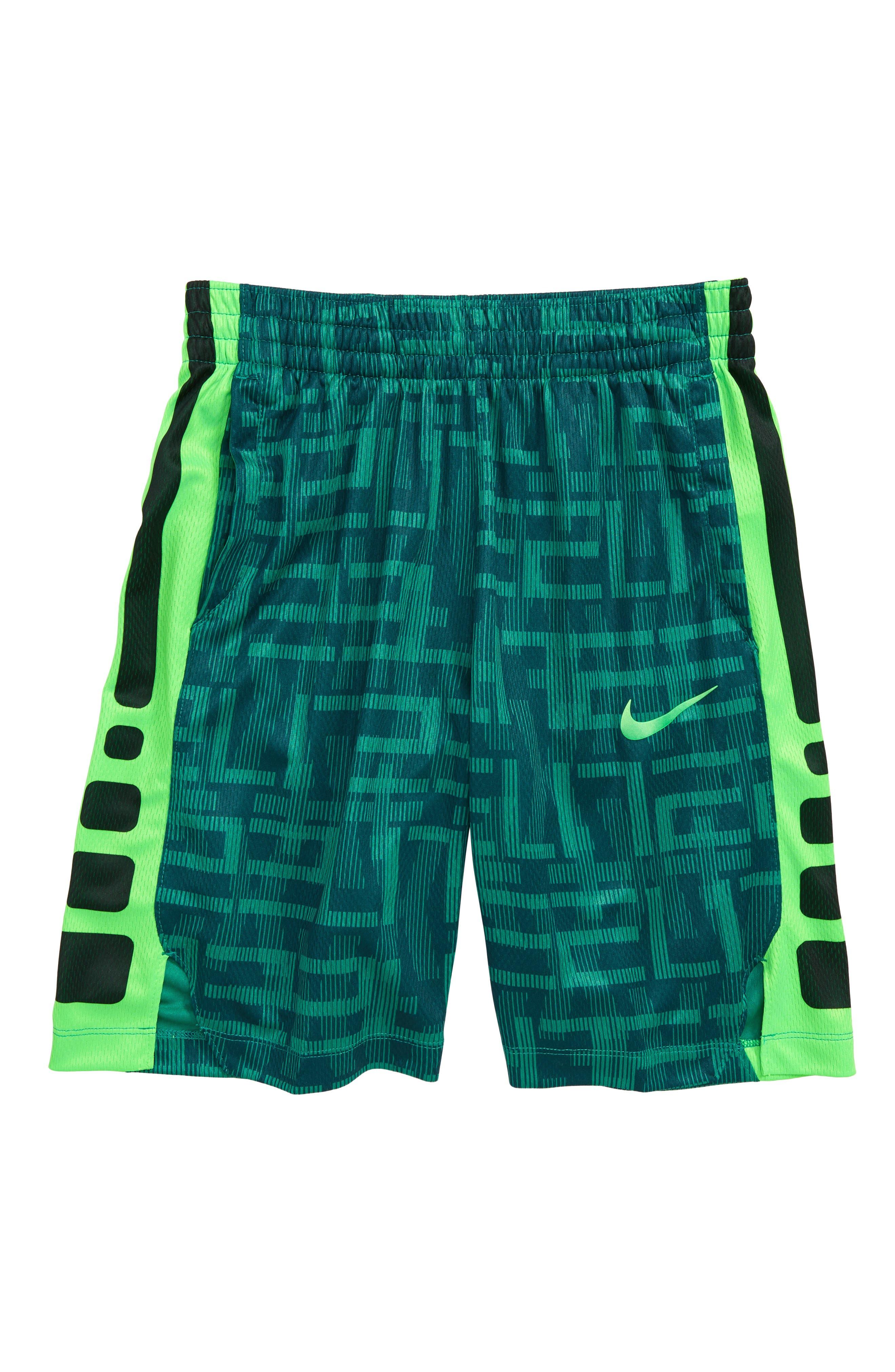 Dry Elite Basketball Shorts,                         Main,                         color, Green Noise/ Black