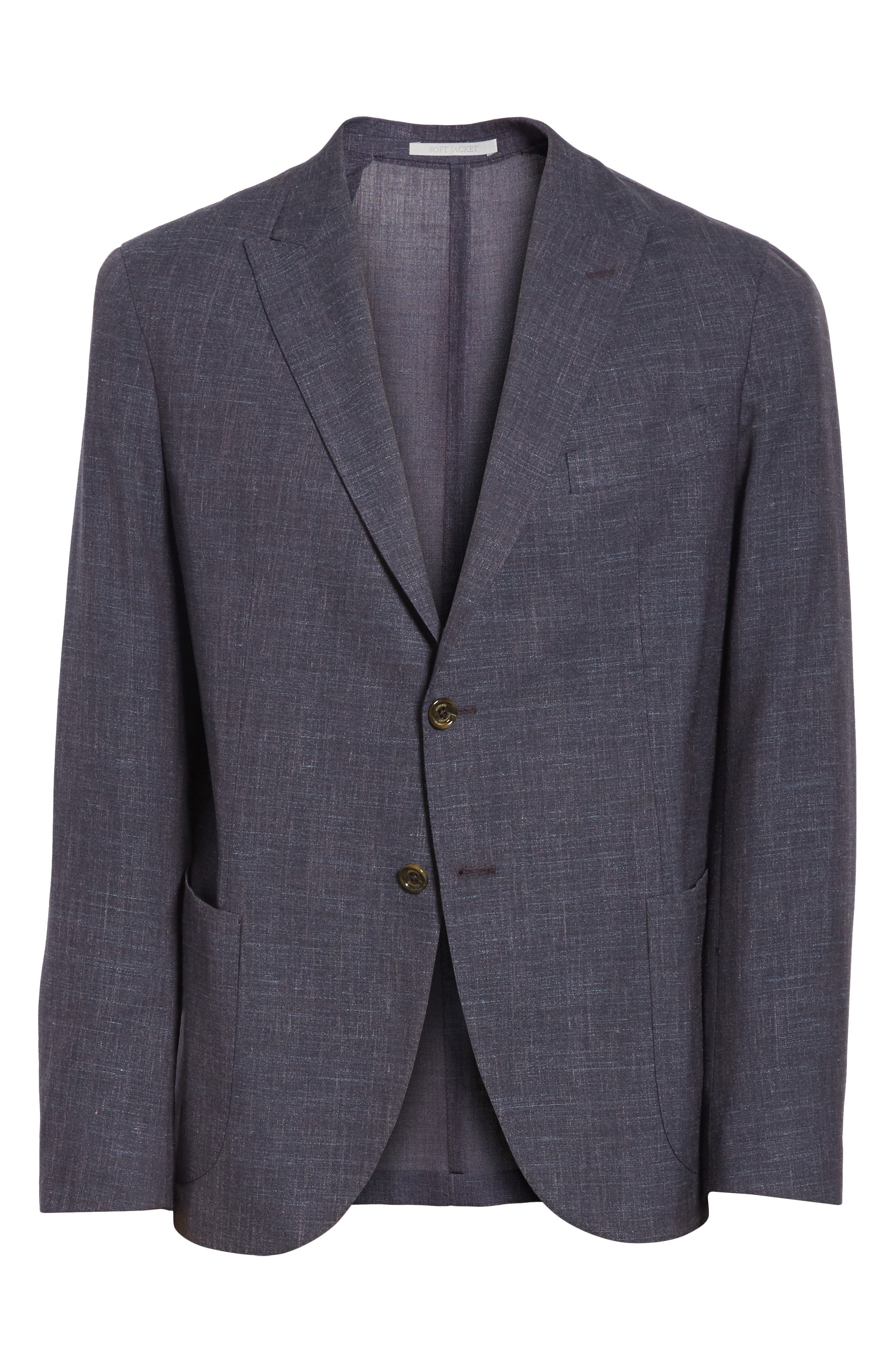 Trim Fit Wool Blend Blazer,                             Alternate thumbnail 6, color,                             Ink