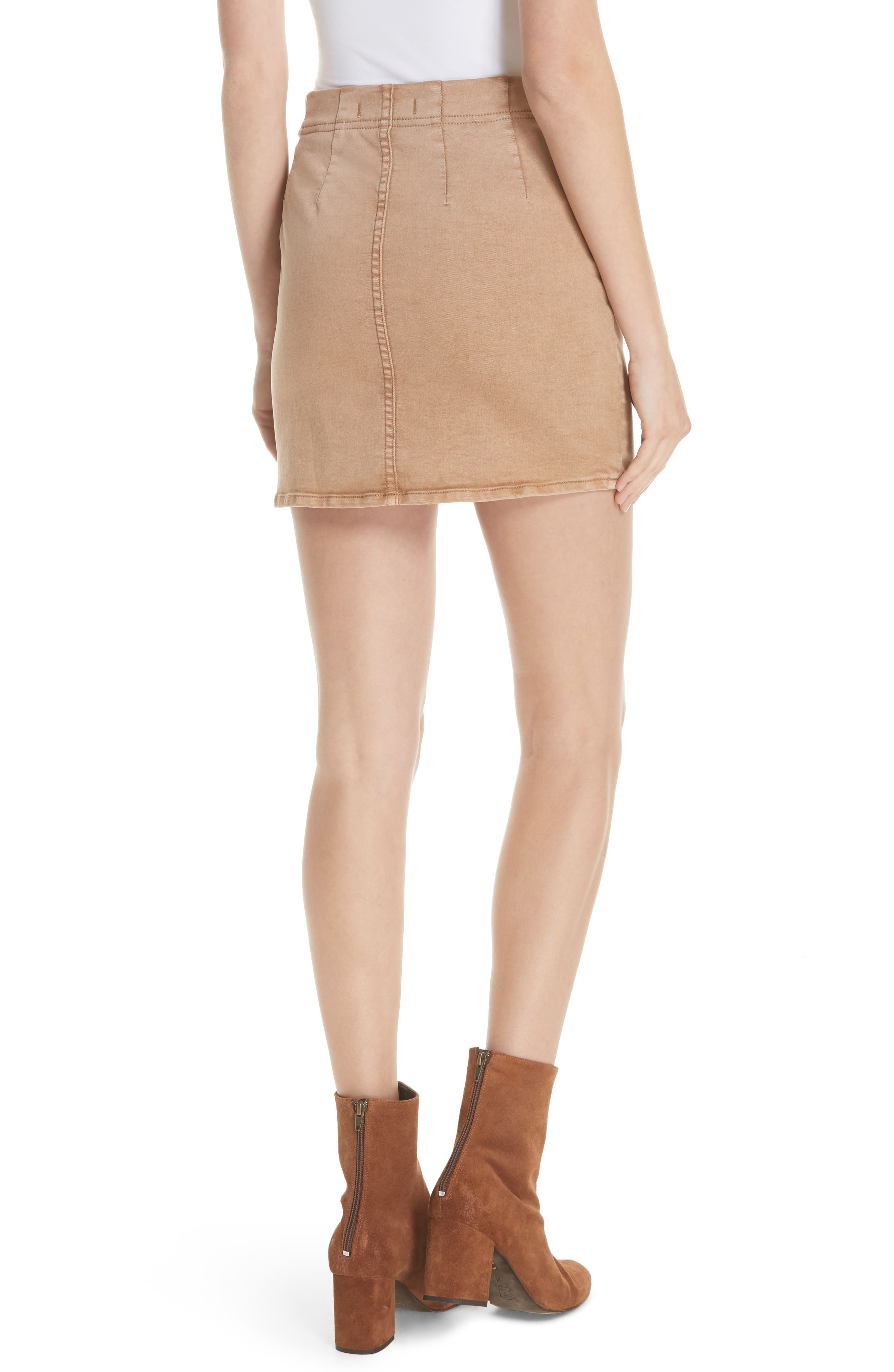 Femme Fatale Pull On Skirt,                             Alternate thumbnail 4, color,                             Khaki