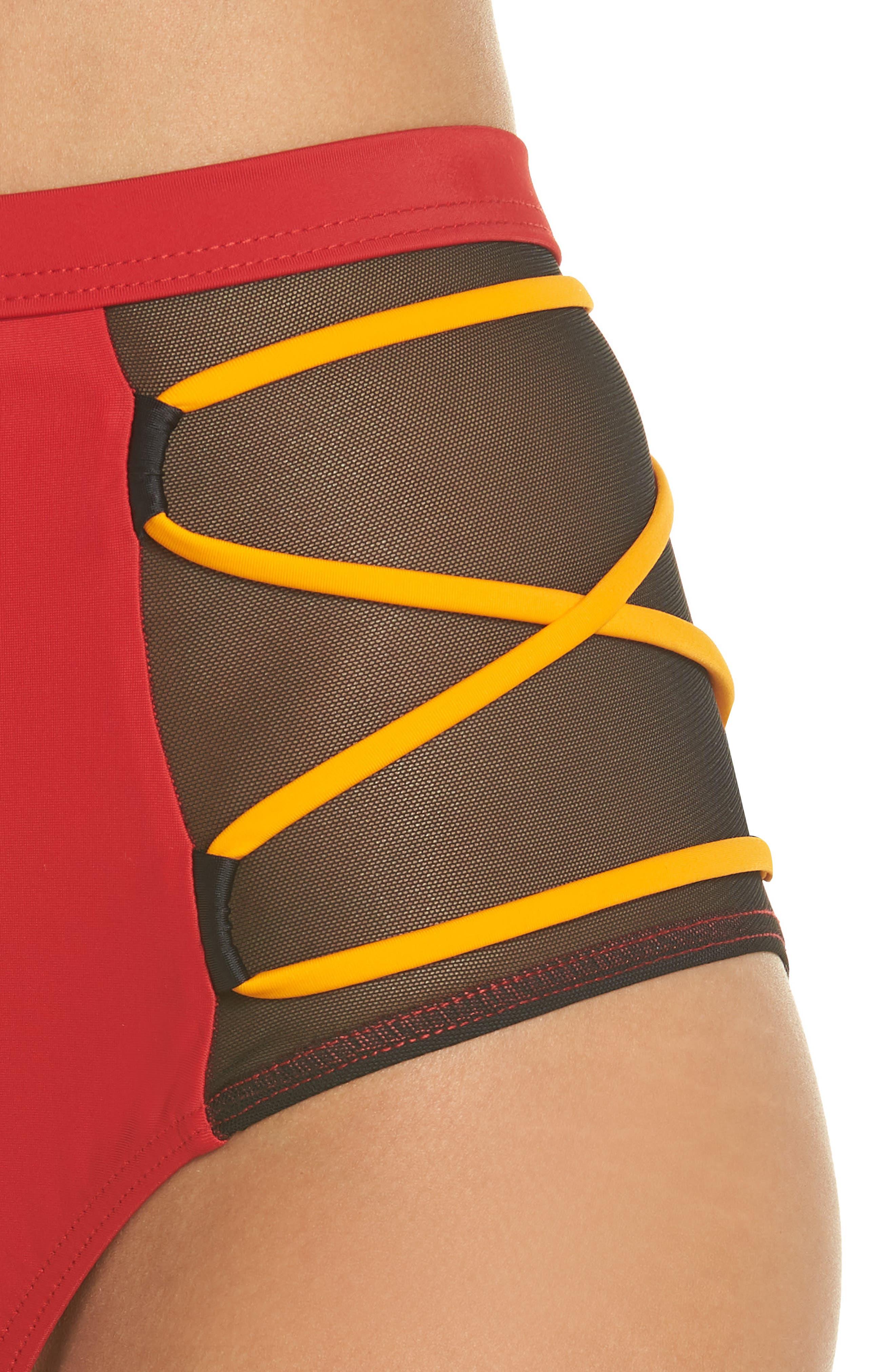 Launch Bikini Bottoms,                             Alternate thumbnail 4, color,                             Red/ Black/ Orange