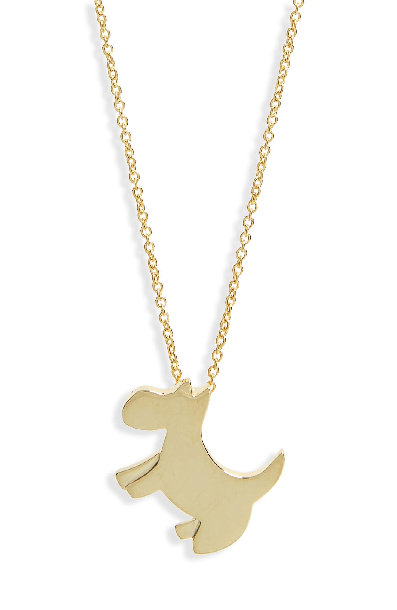 Scottie Dog Necklace,                         Main,                         color, Yellow Gold
