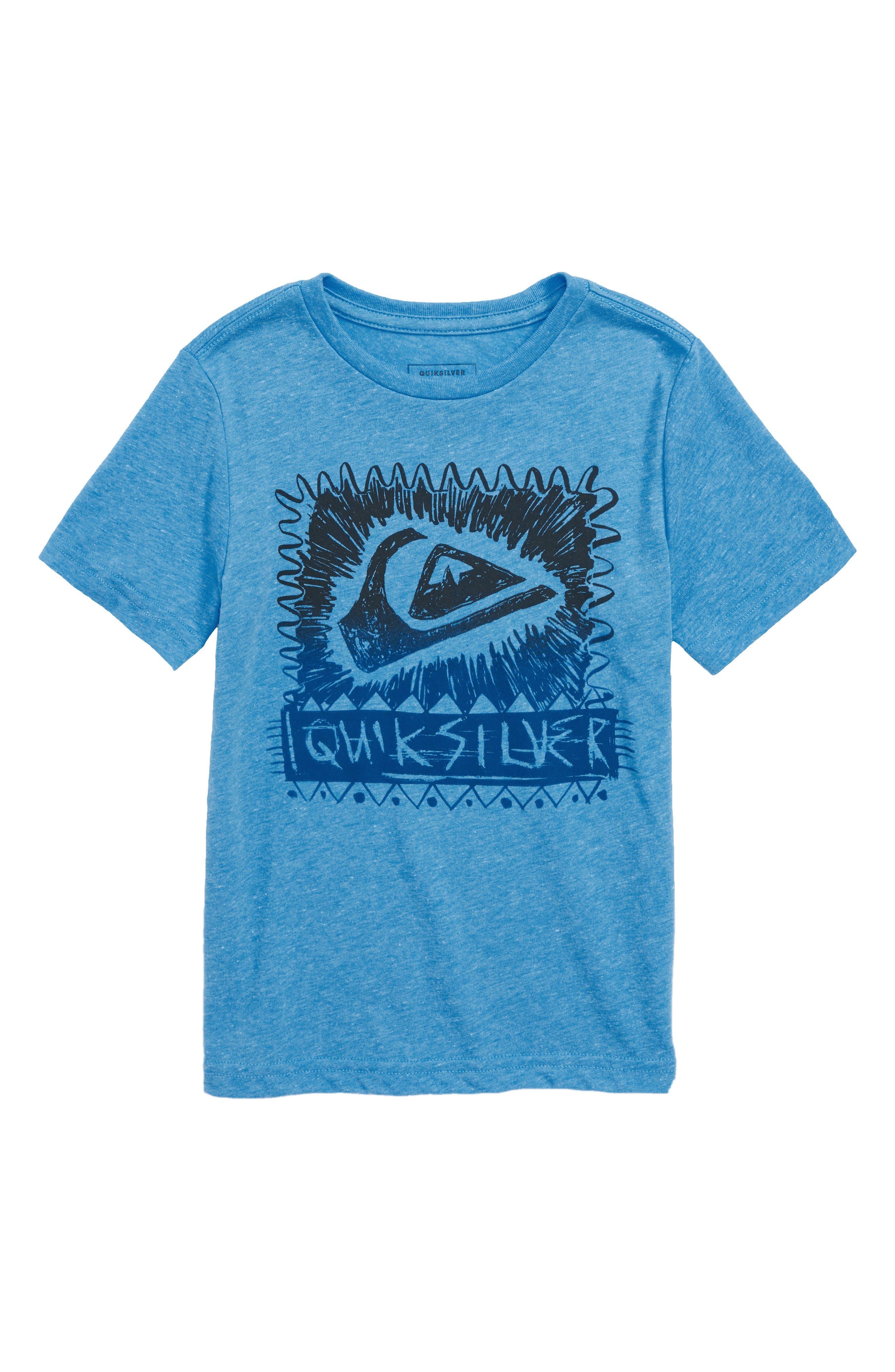 Quicksilver Laser Cut Graphic T-Shirt,                         Main,                         color, Malibu Heather