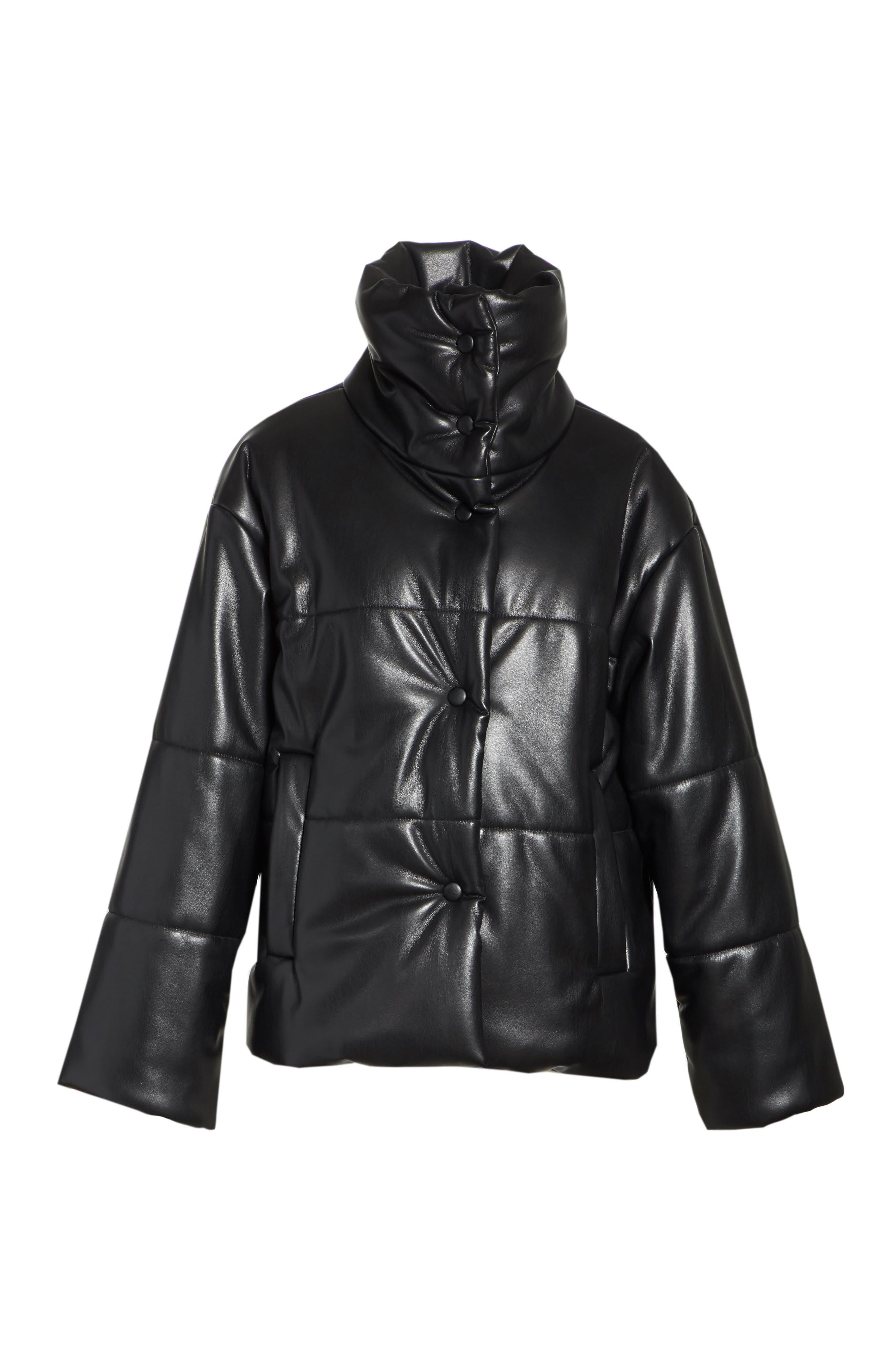 Hide Faux Leather Puffer Jacket,                             Alternate thumbnail 6, color,                             Black