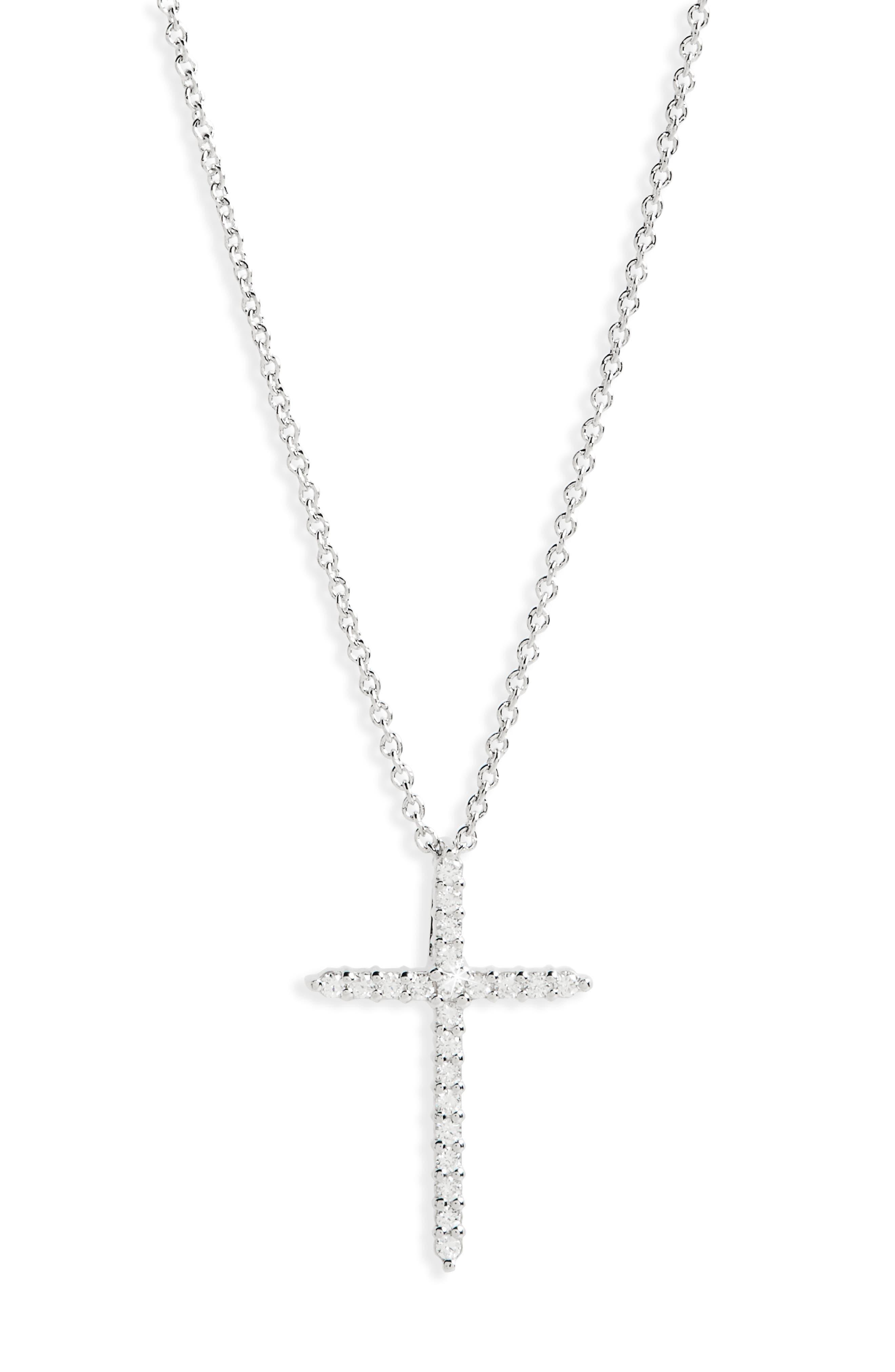 Diamond Cross Pendant Necklace,                             Main thumbnail 1, color,                             White Gold