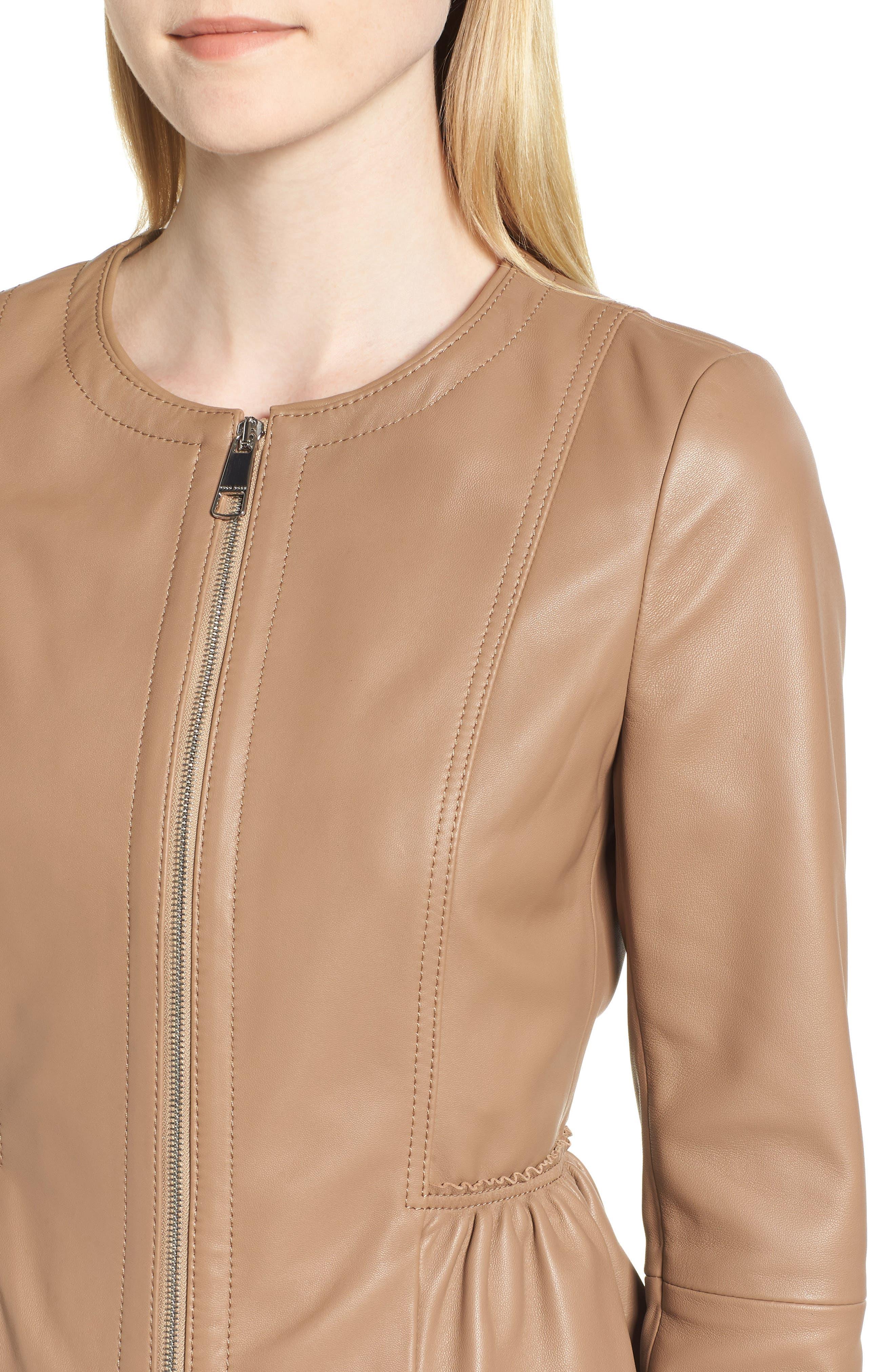 Sahota Leather Jacket,                             Alternate thumbnail 4, color,                             Warm Clay
