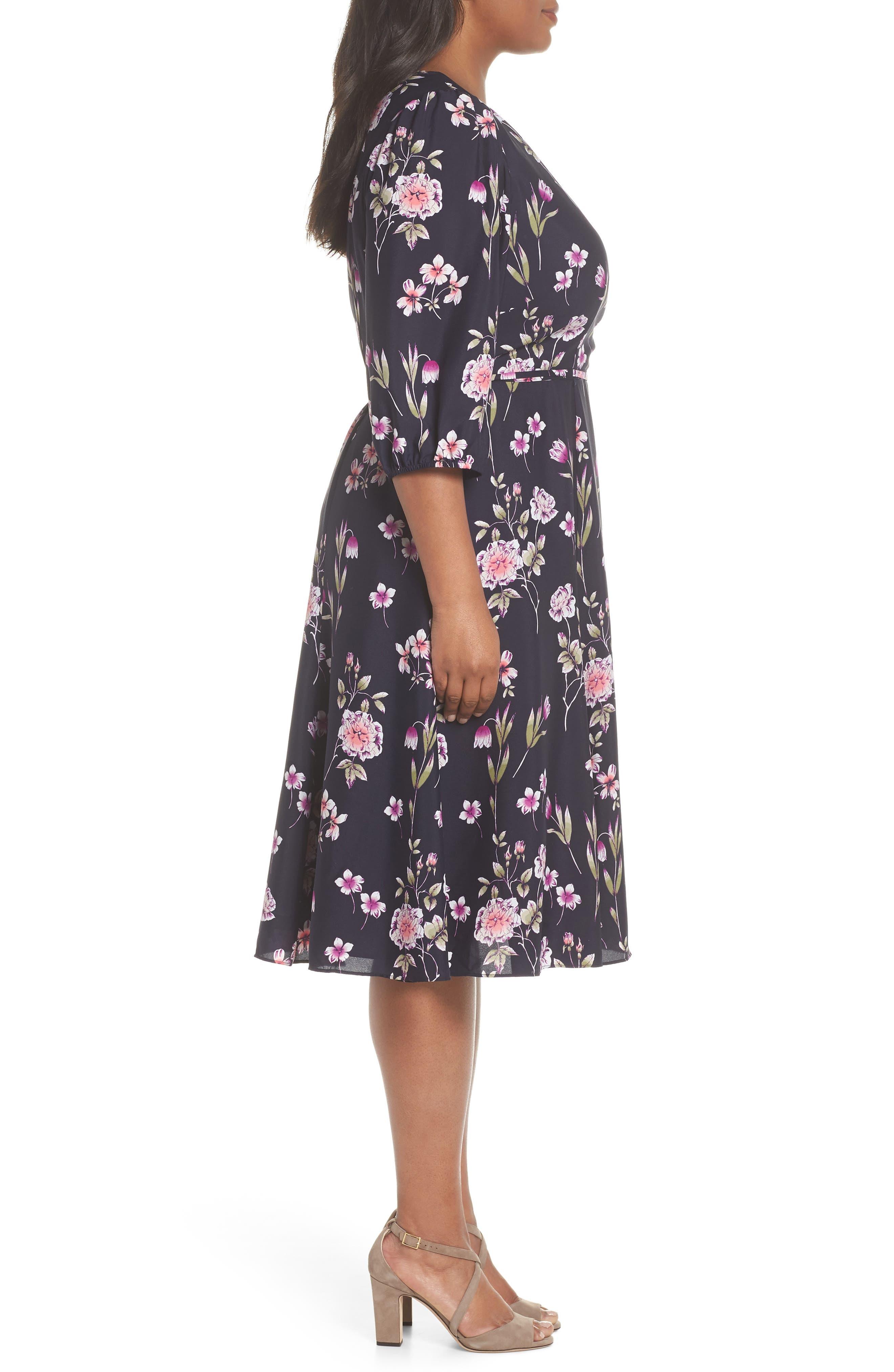 Puff Sleeve Floral Wrap Midi Dress,                             Alternate thumbnail 6, color,                             Navy