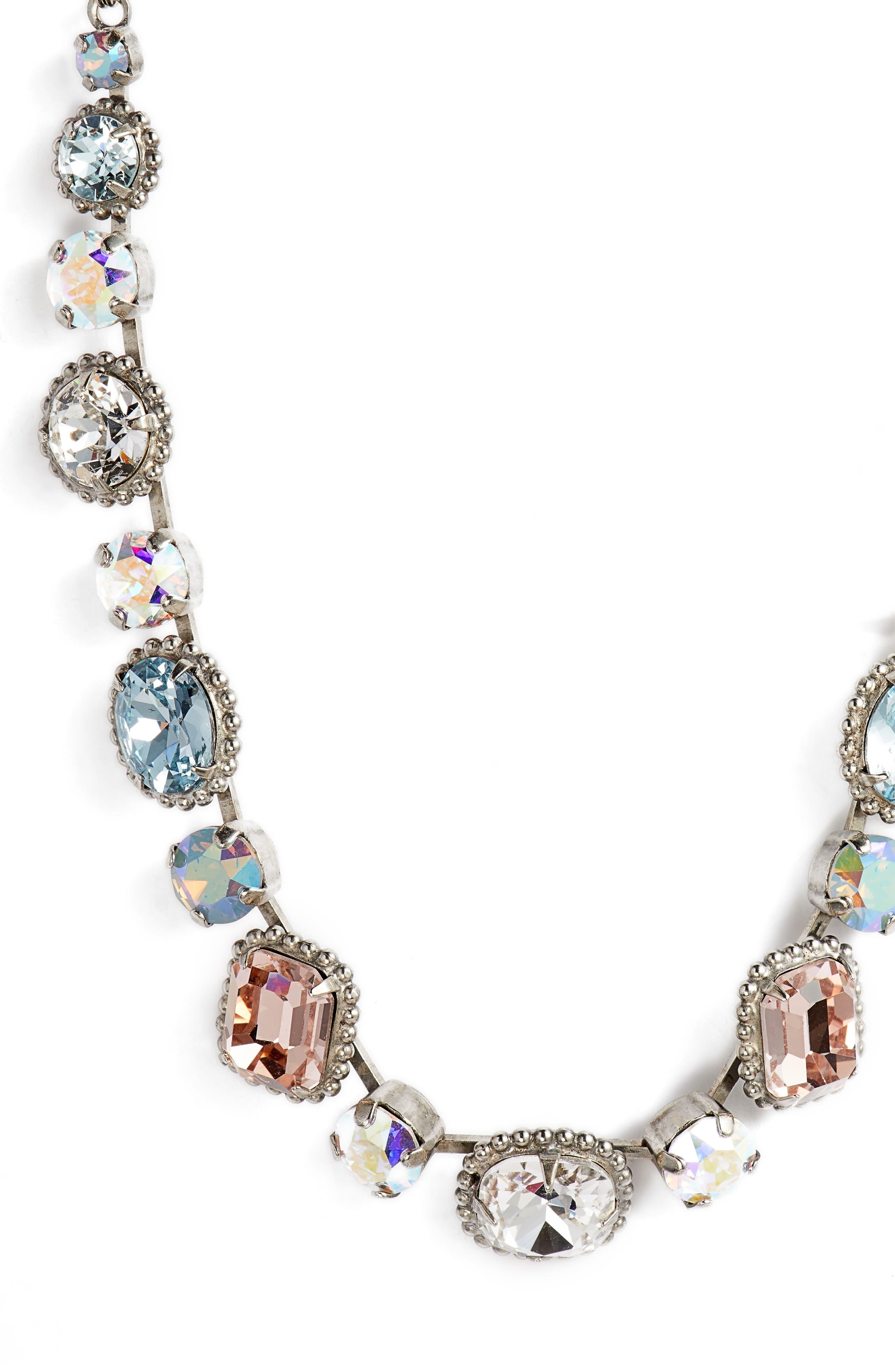 Embellished Elegance Crystal Necklace,                             Alternate thumbnail 2, color,                             Blue