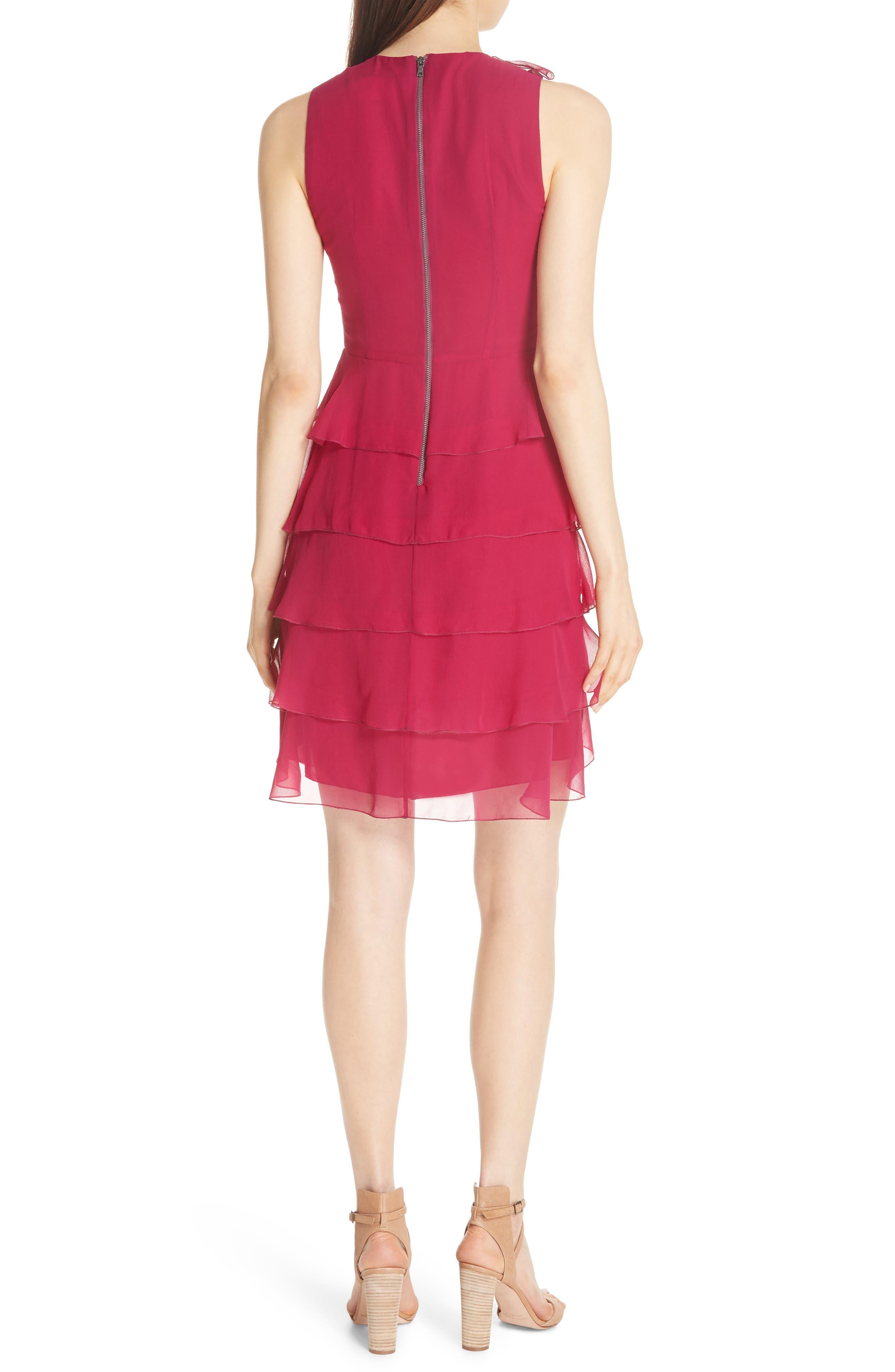 Felicita Ruffle Silk Dress,                             Alternate thumbnail 2, color,                             Raspberry