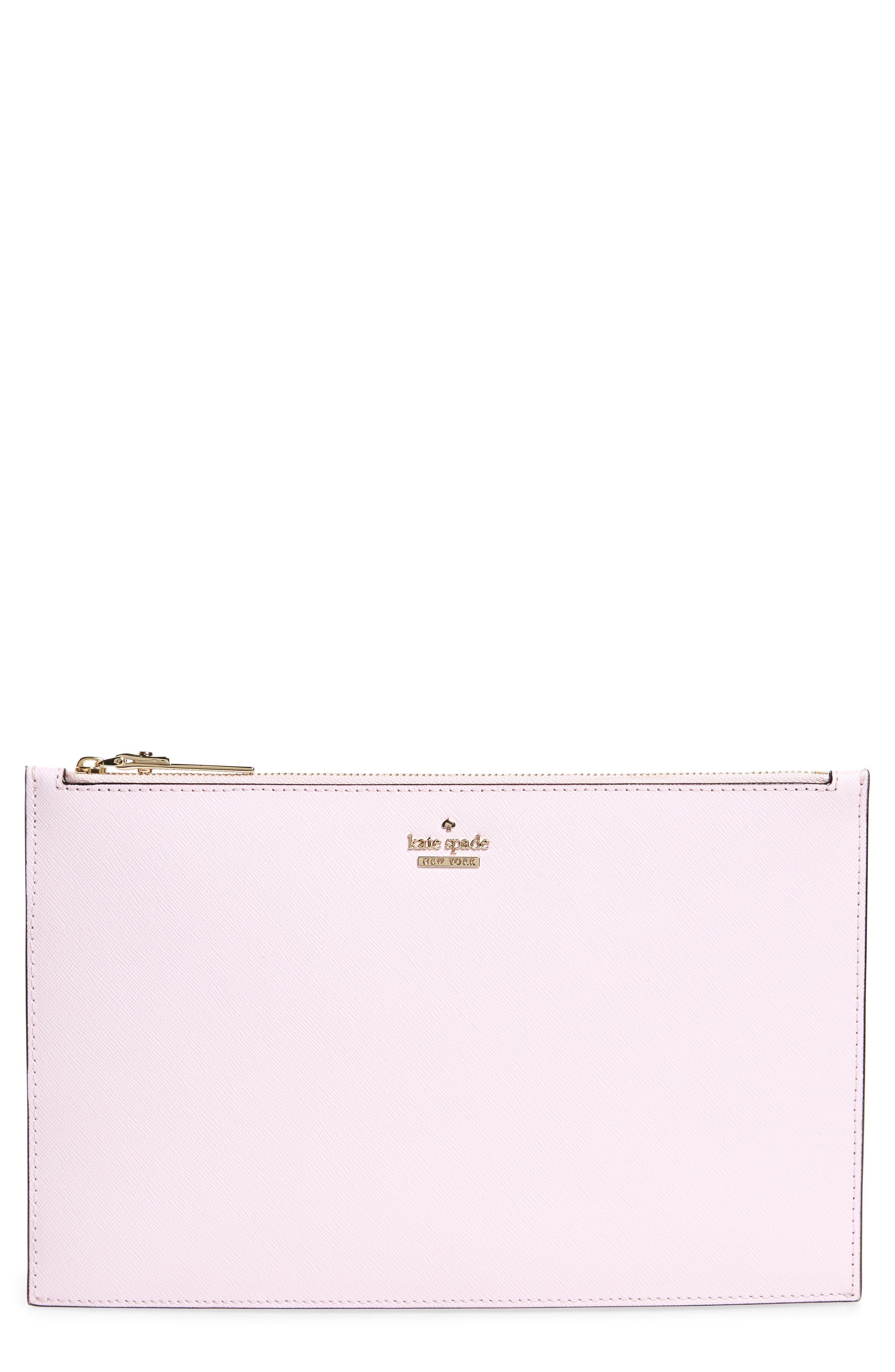 cameron street lilia leather clutch,                             Main thumbnail 1, color,                             Pink Lemonade