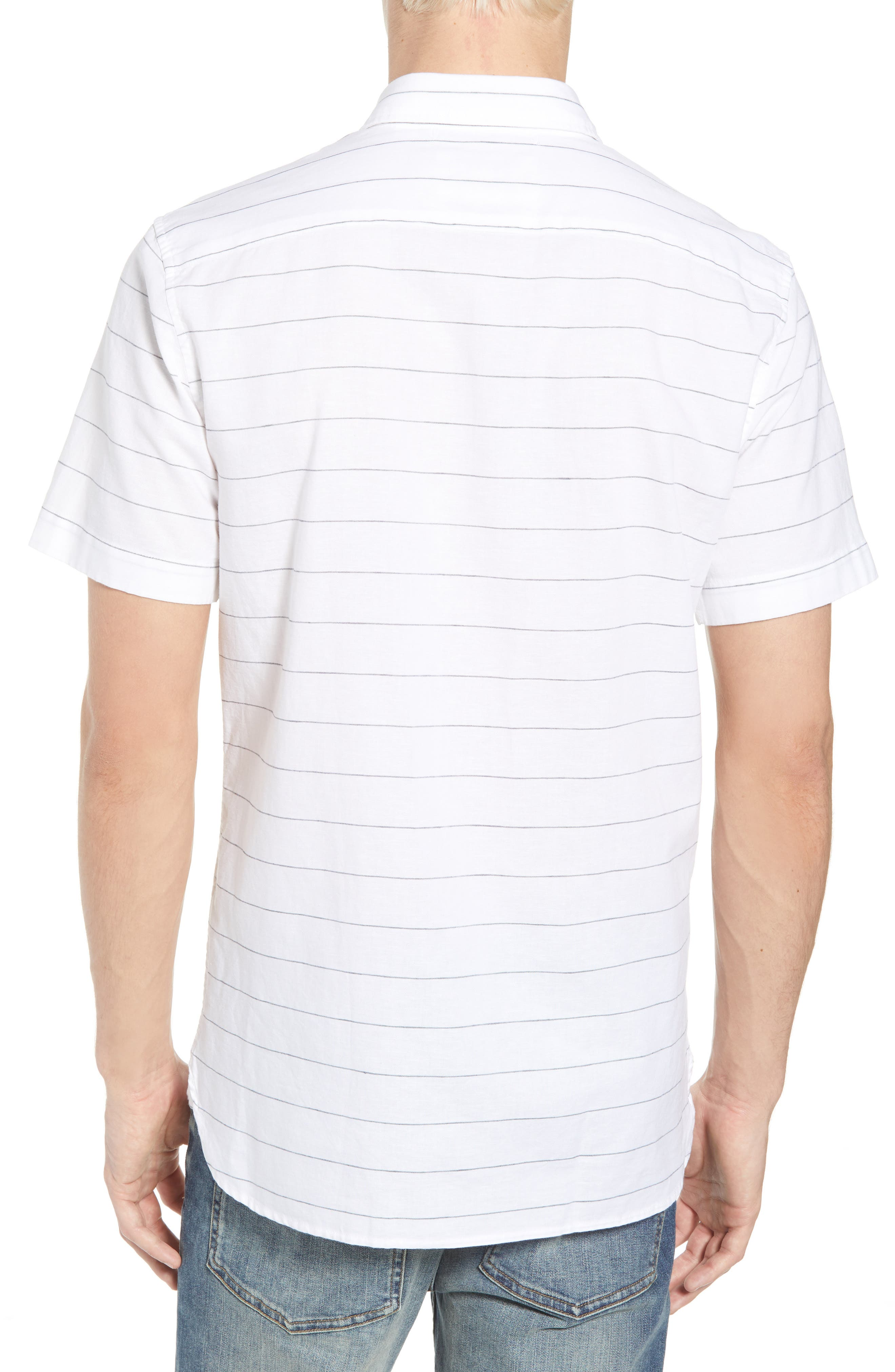 Slim Fit Stripe Cotton & Linen Sport Shirt,                             Alternate thumbnail 3, color,                             White