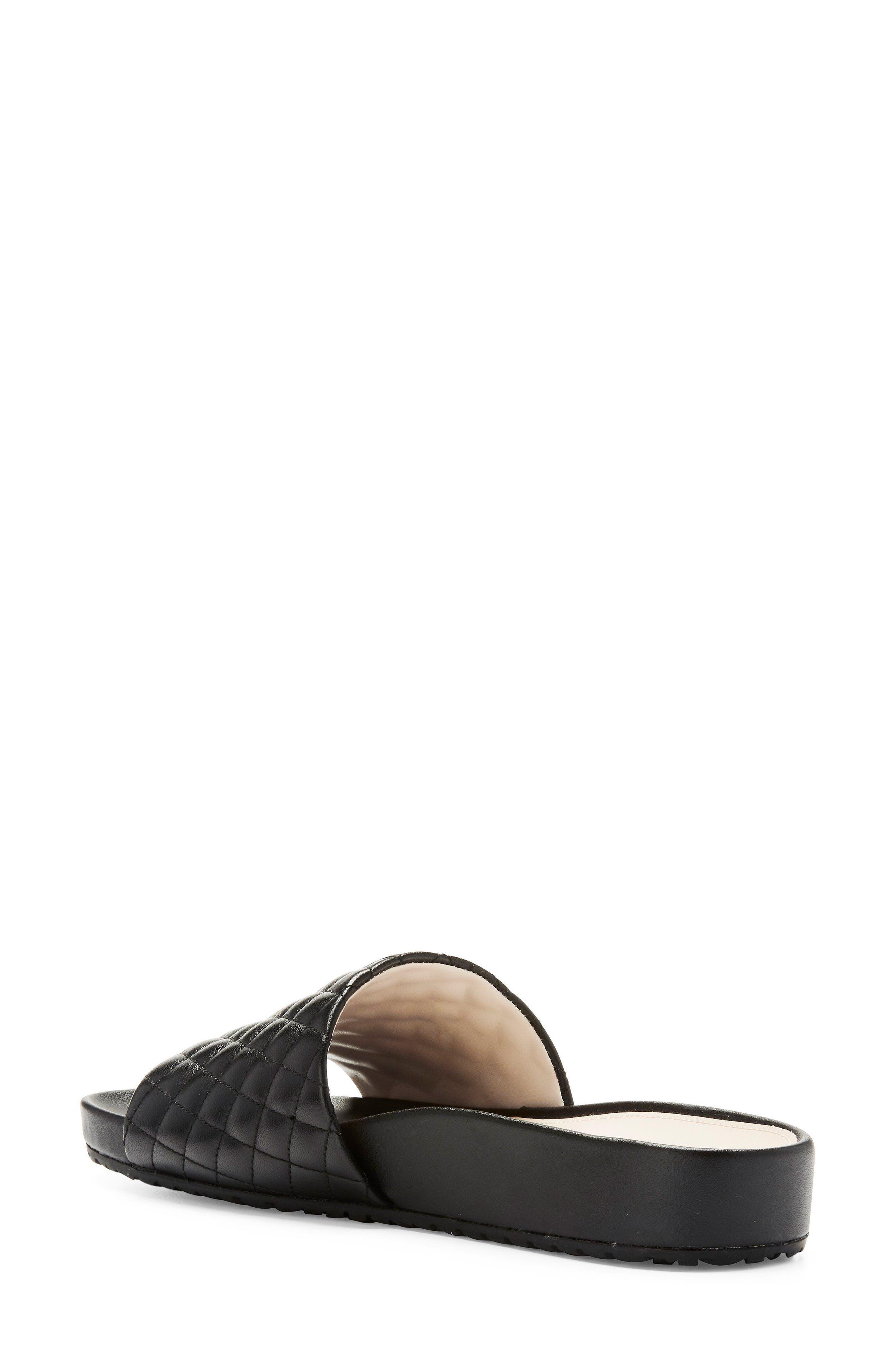 Pinch Montauk Slide Sandal,                             Alternate thumbnail 2, color,                             Black Quilted Leather